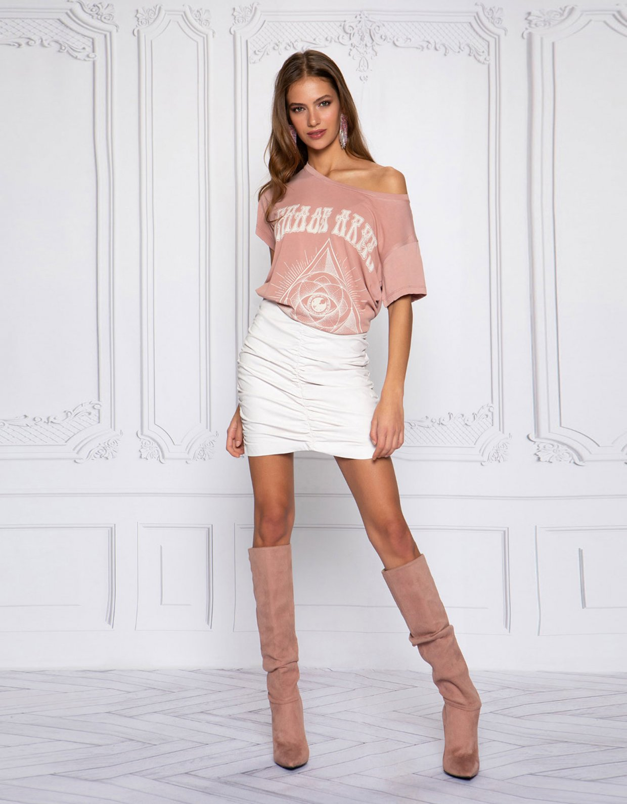 Peace & Chaos Scrunchie eco leather skirt off white