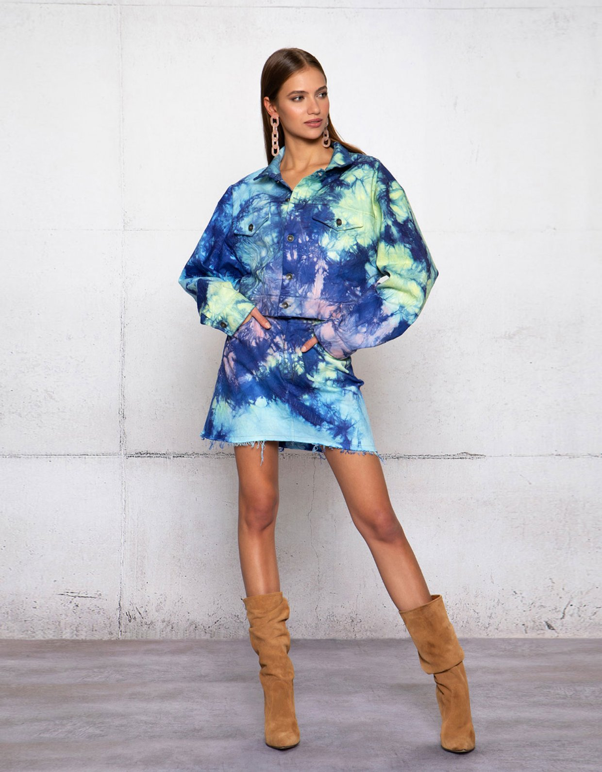 Peace & Chaos Ocean dance tie dye denim skirt