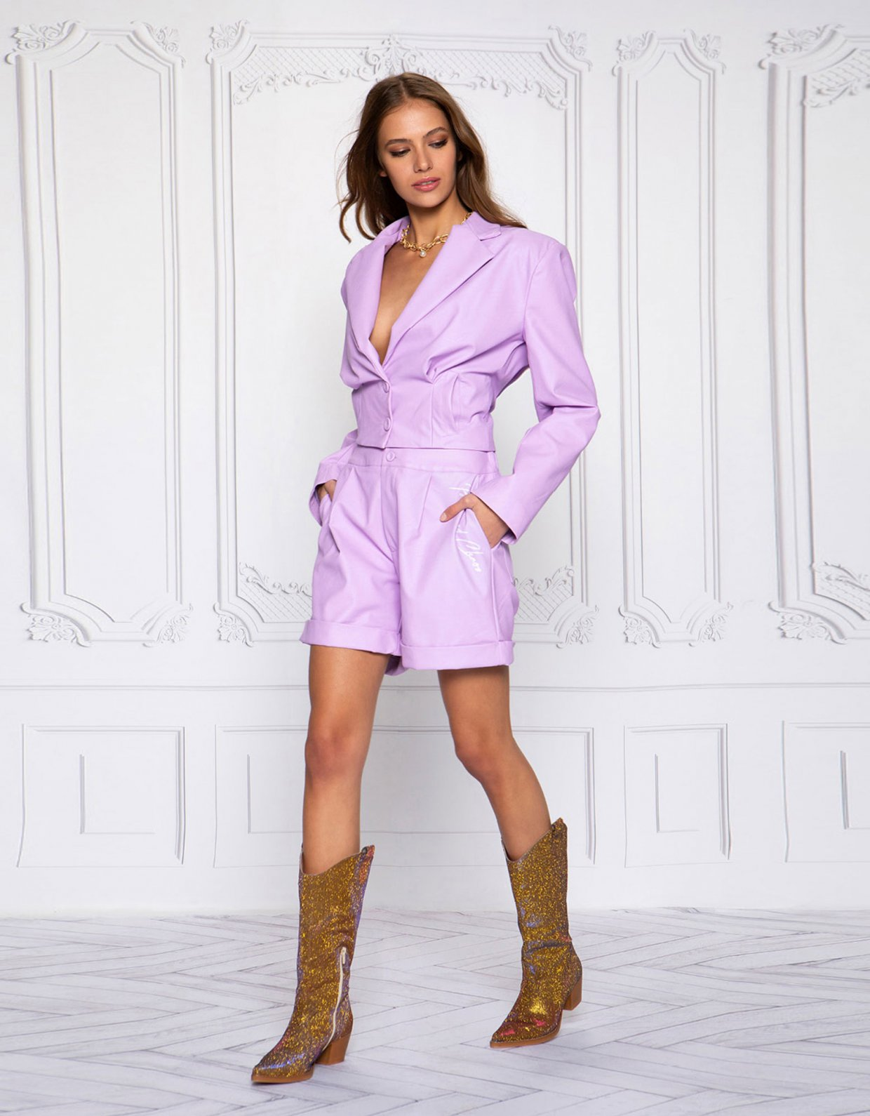 Peace & Chaos On fleek lilac eco leather shorts
