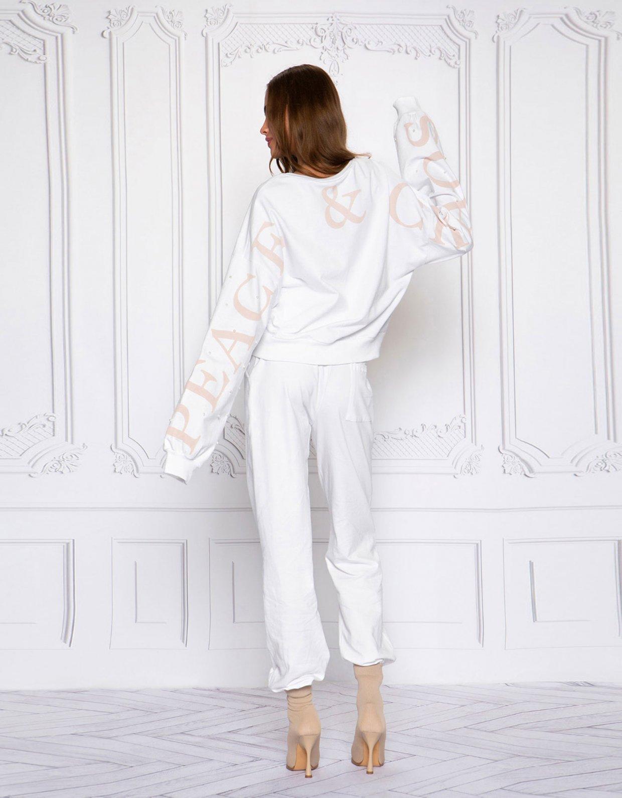 Peace & Chaos Studded white sweatshirt