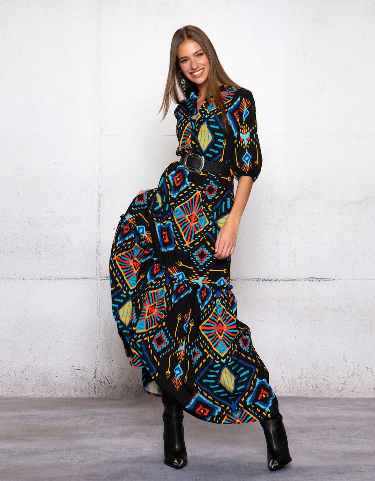 Peace & Chaos Mayans stories long dress