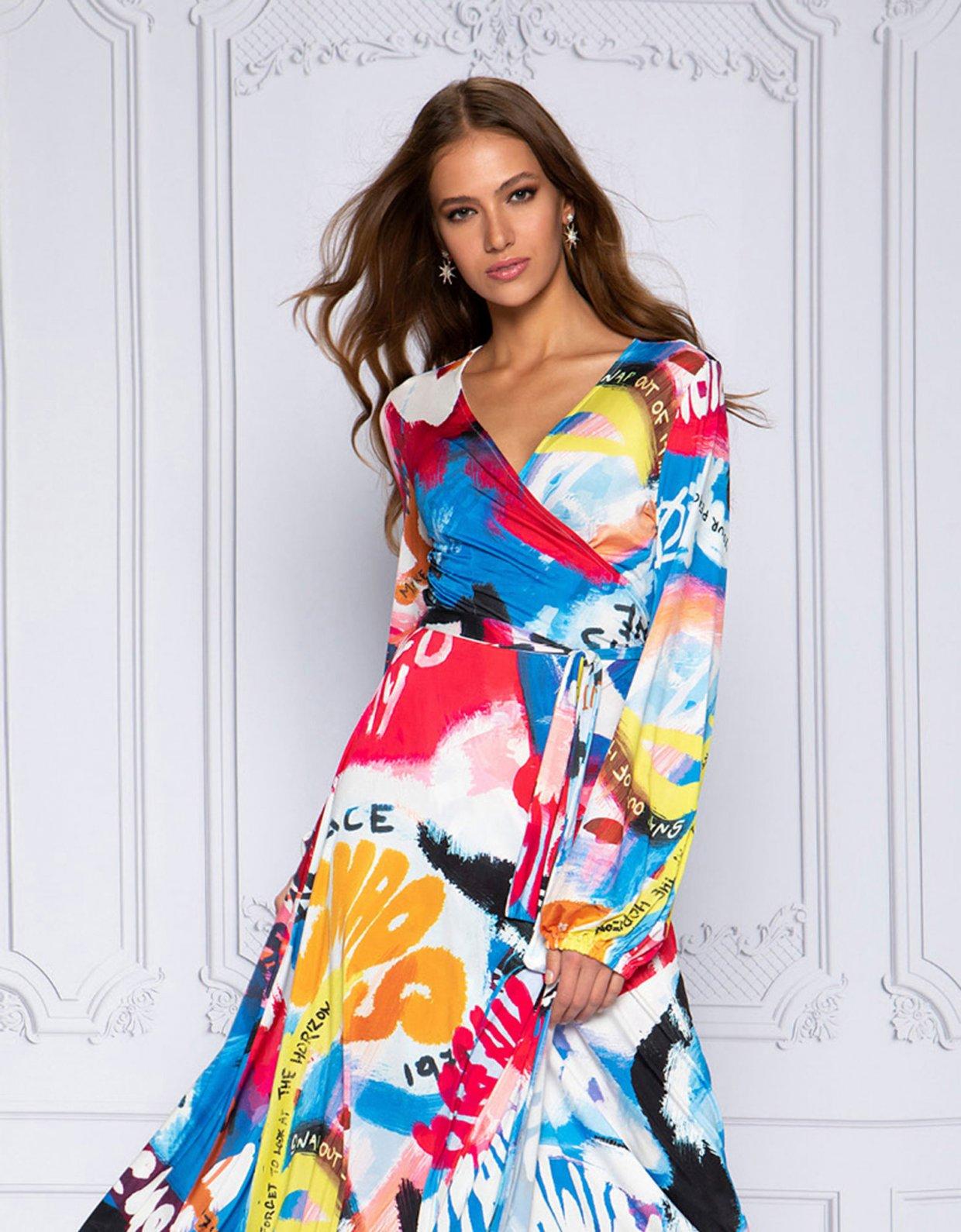 Peace & Chaos Coloured canvas wrap dress