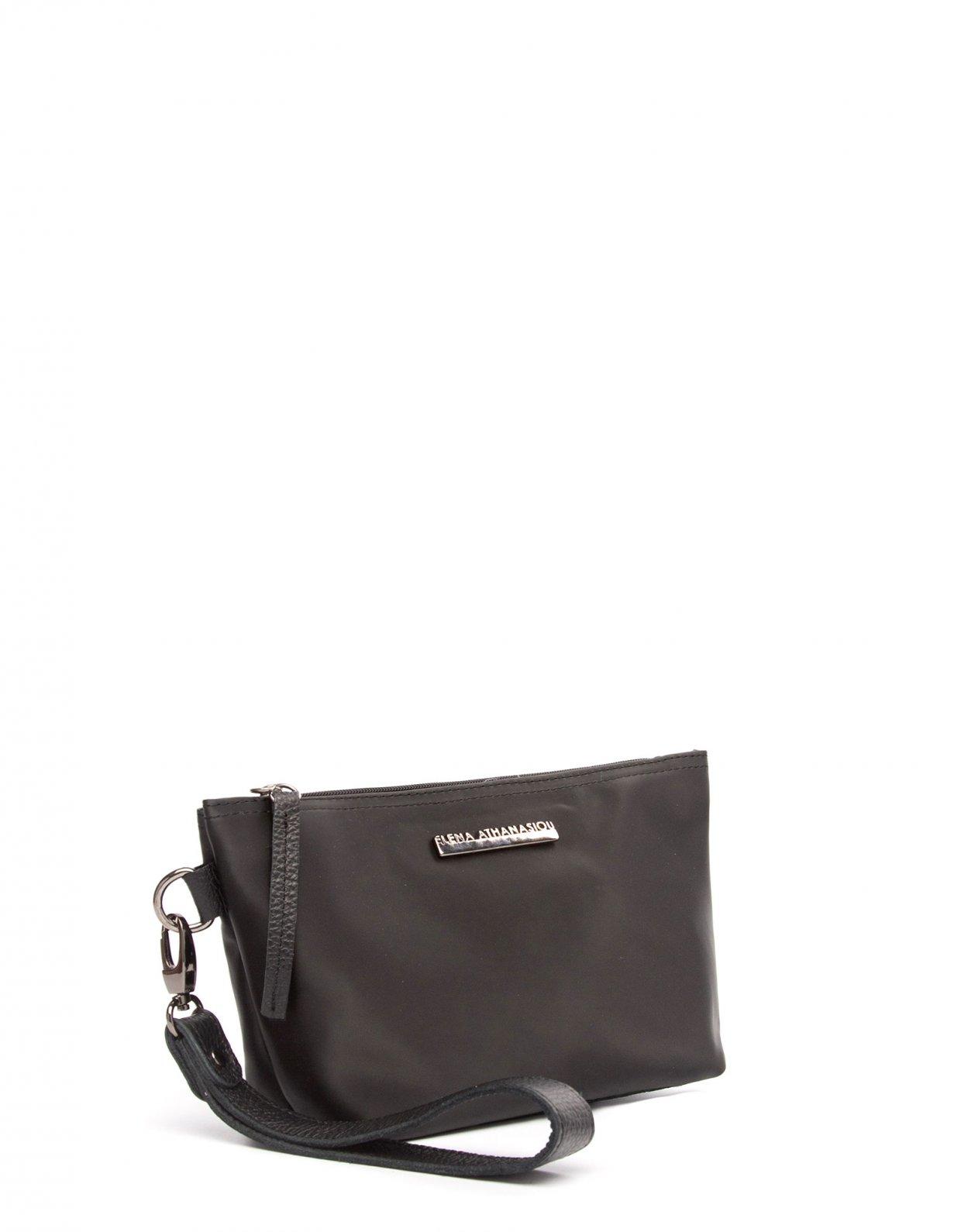 Elena Athanasiou Satin clutch bag black