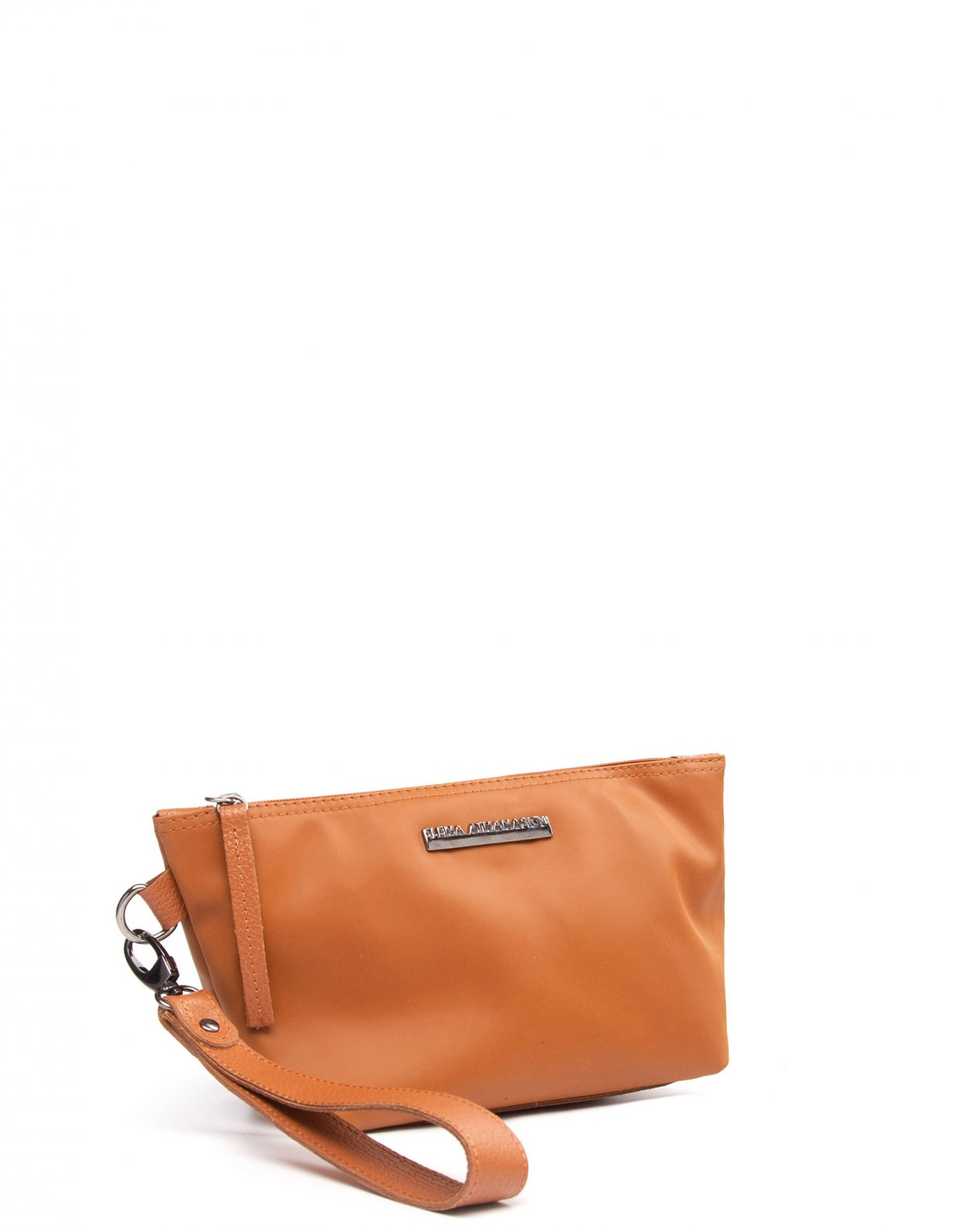 Elena Athanasiou Satin clutch bag cognac