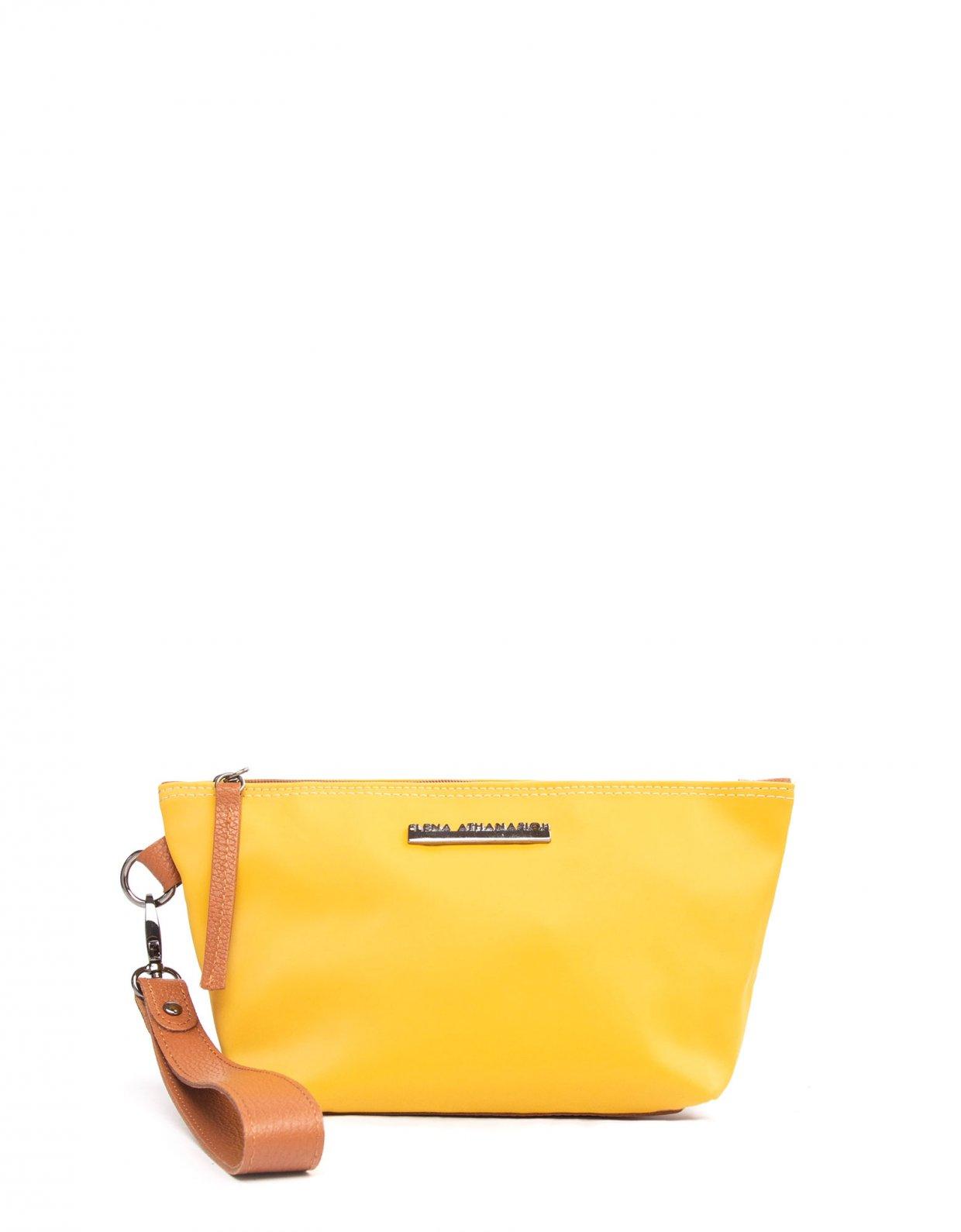 Elena Athanasiou Satin clutch bag yellow