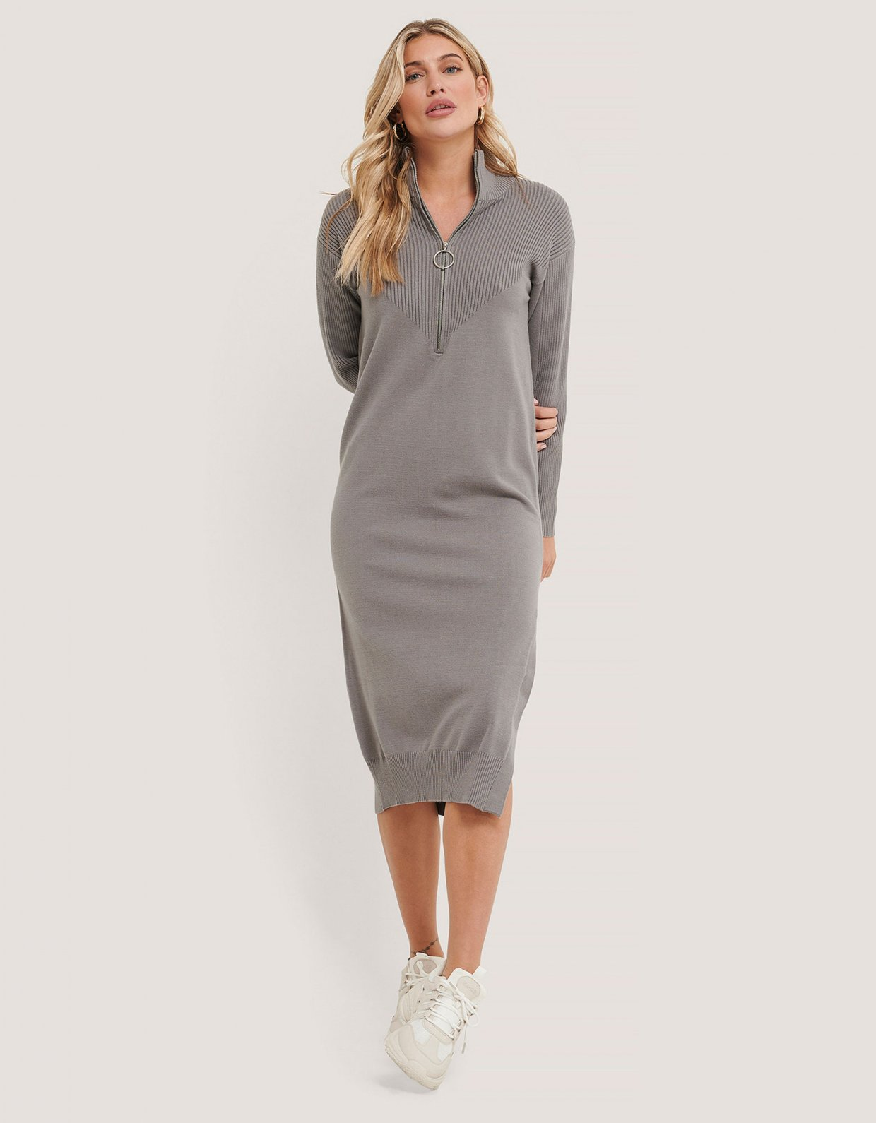NA-KD Side slit knit dress grey