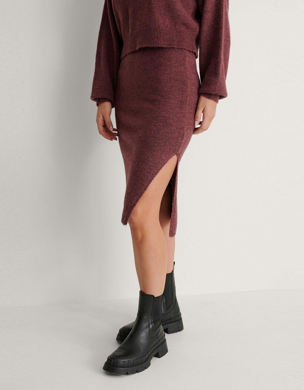 NA-KD Side slit purple midi skirt