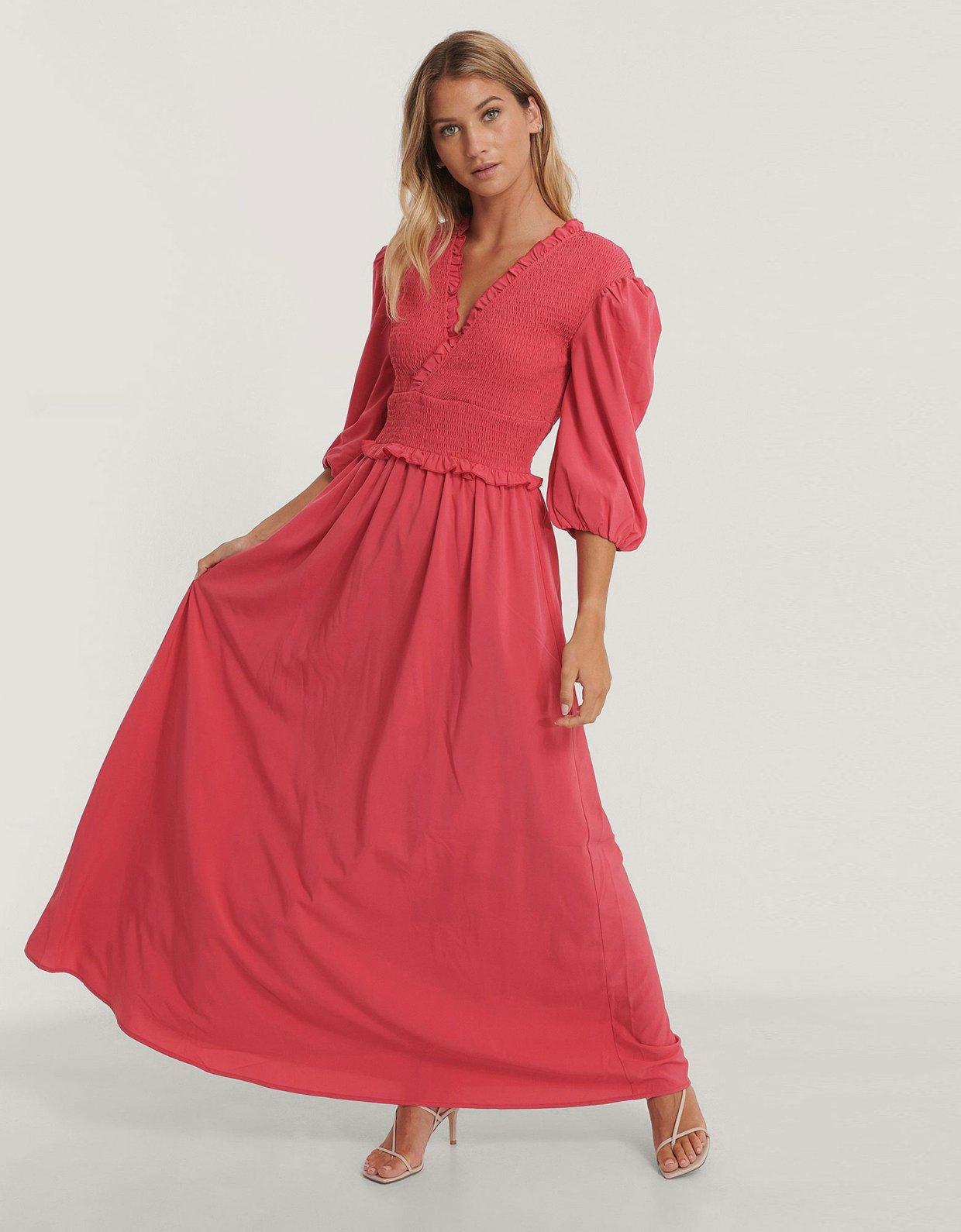 NA-KD Smocked maxi dress