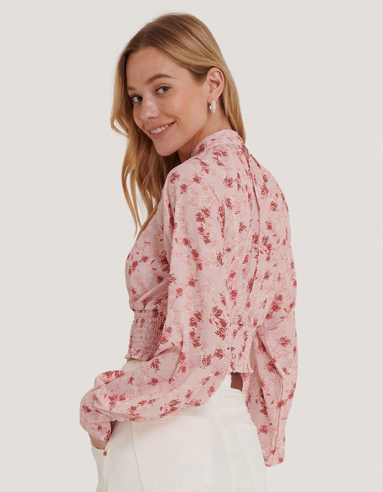NA-KD Smocked waist blouse rose print