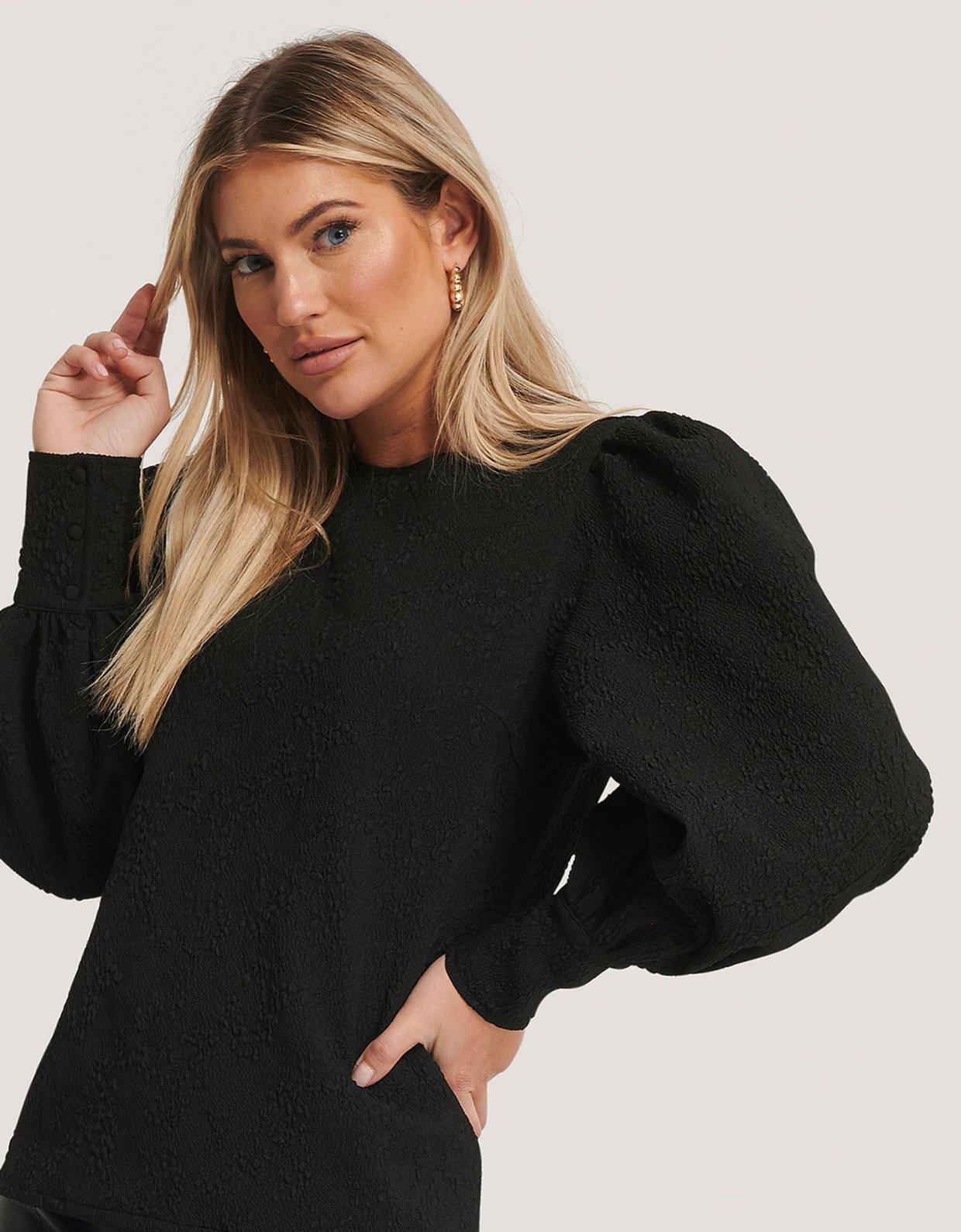 NA-KD Structured big puff sleeve blouse black
