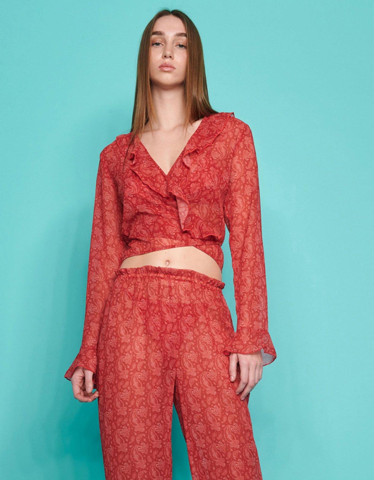 Sunset go Valentina c-through pants red paisley