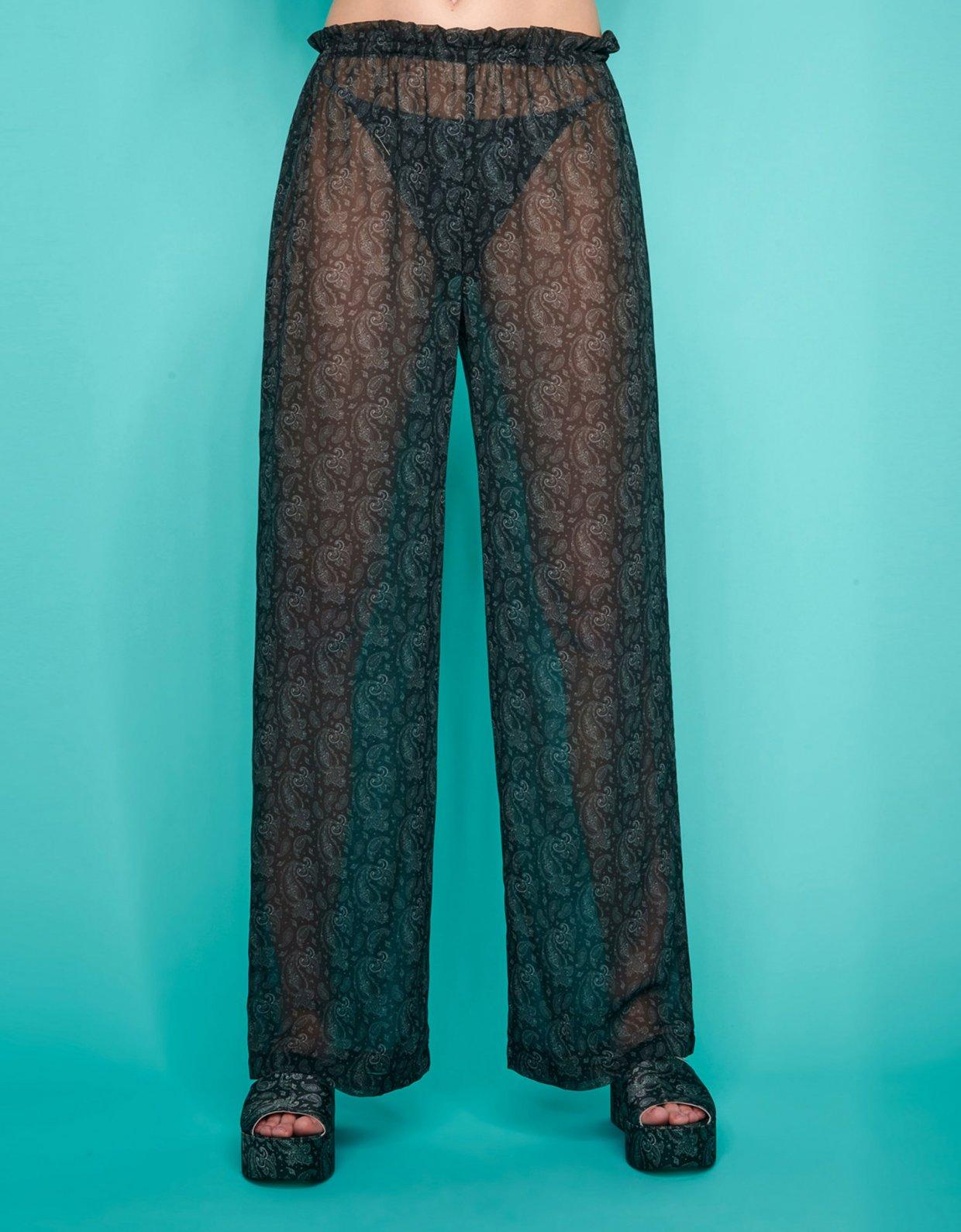 Sunset go Valentina c-through pants black paisley
