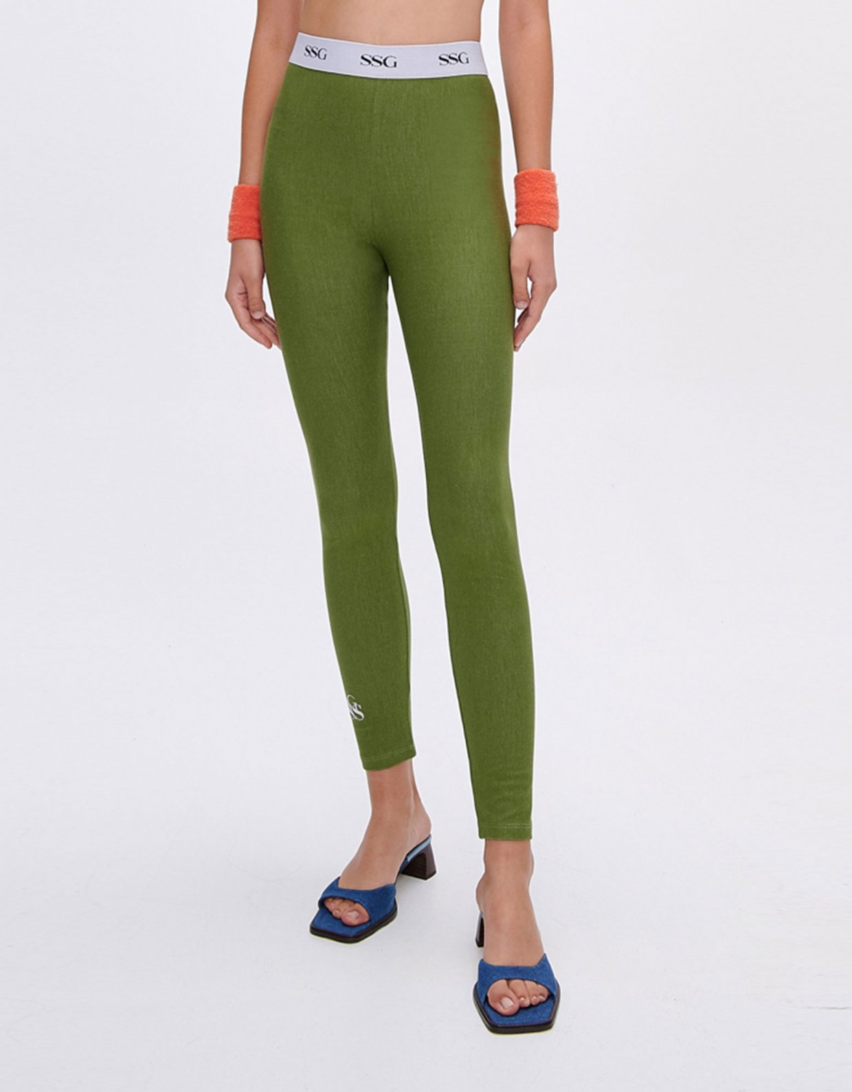 Sunset go Kelly green eco jean leggings