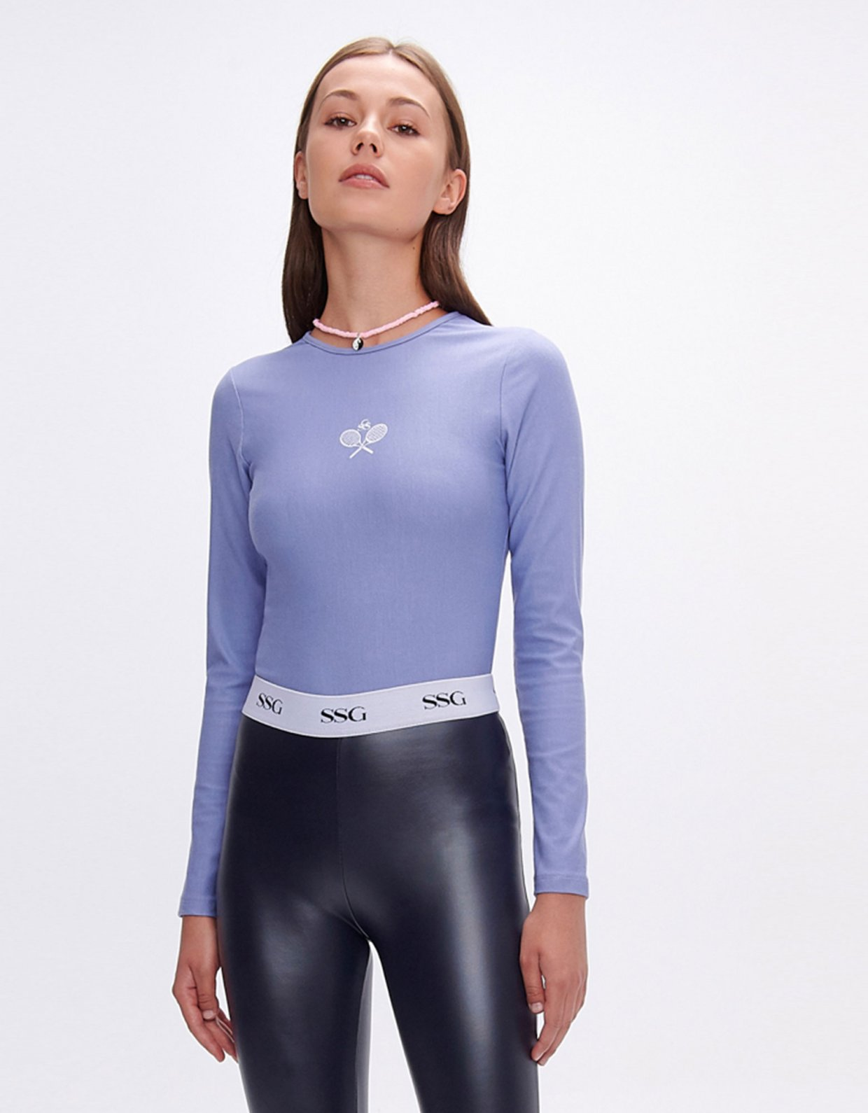 Sunset go Evelyn dark blue vegan scuba leather zip leggings