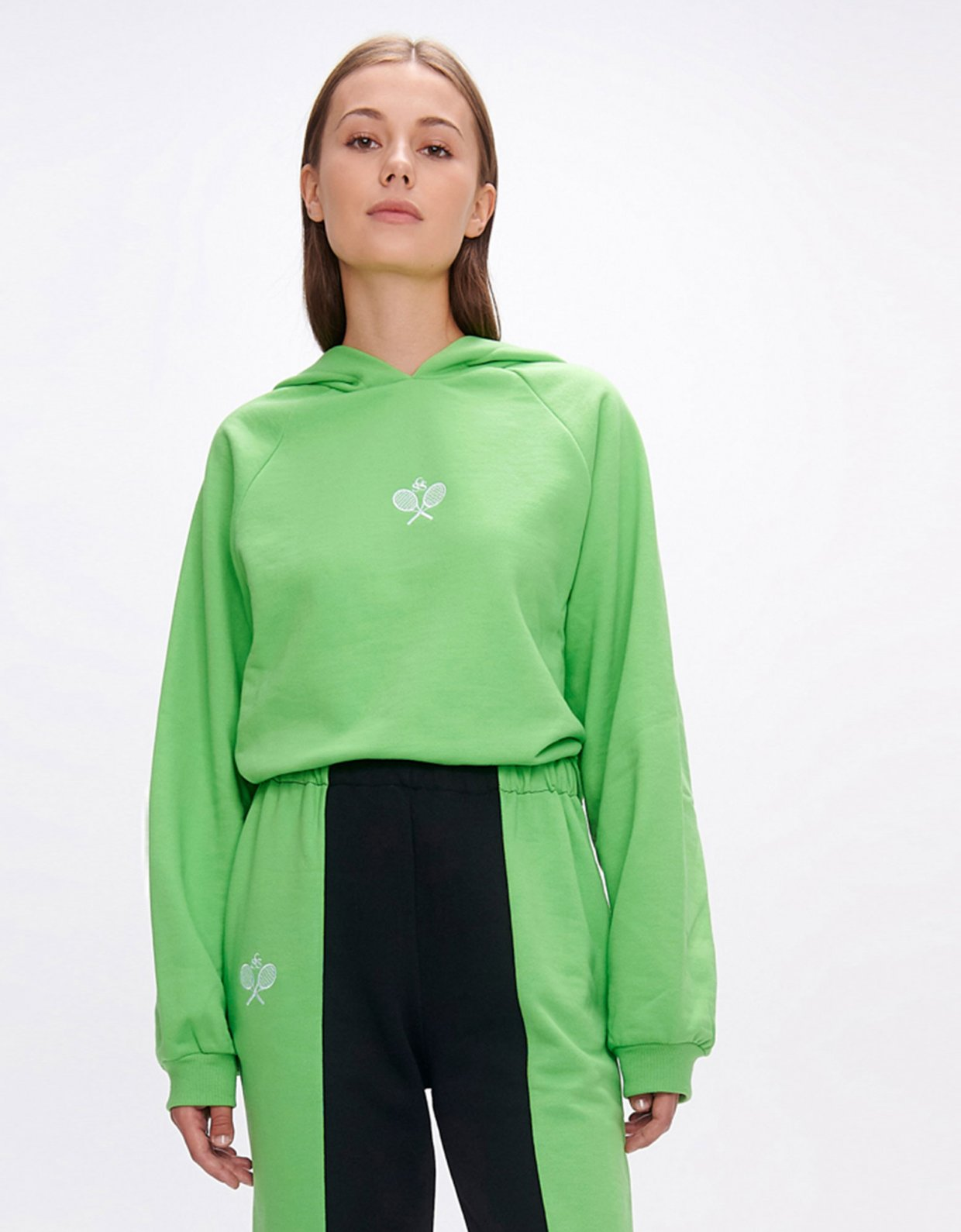 Sunset go Yavia  rackets green crop hoodie
