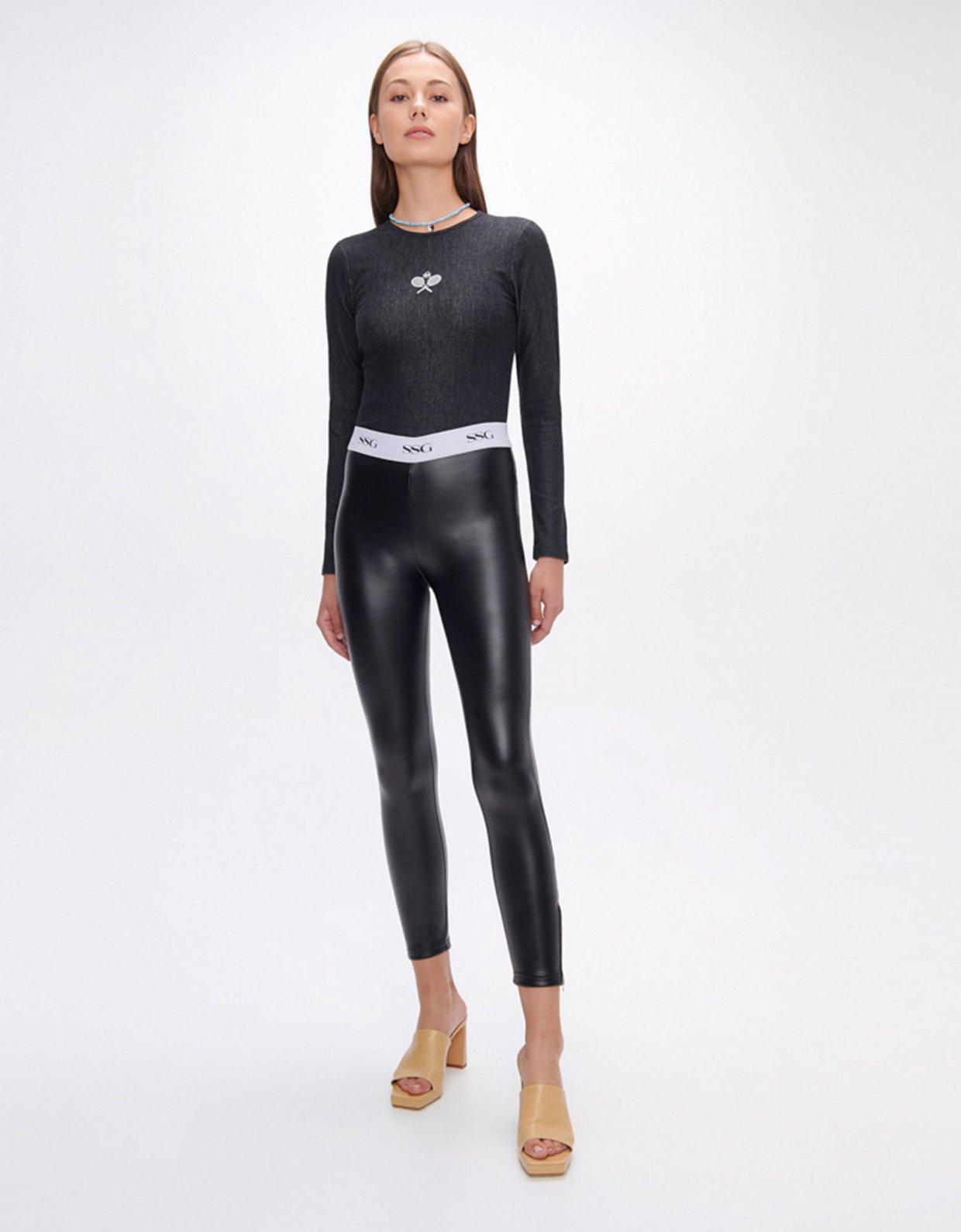 Sunset go Evelyn black vegan scuba leather zip leggings