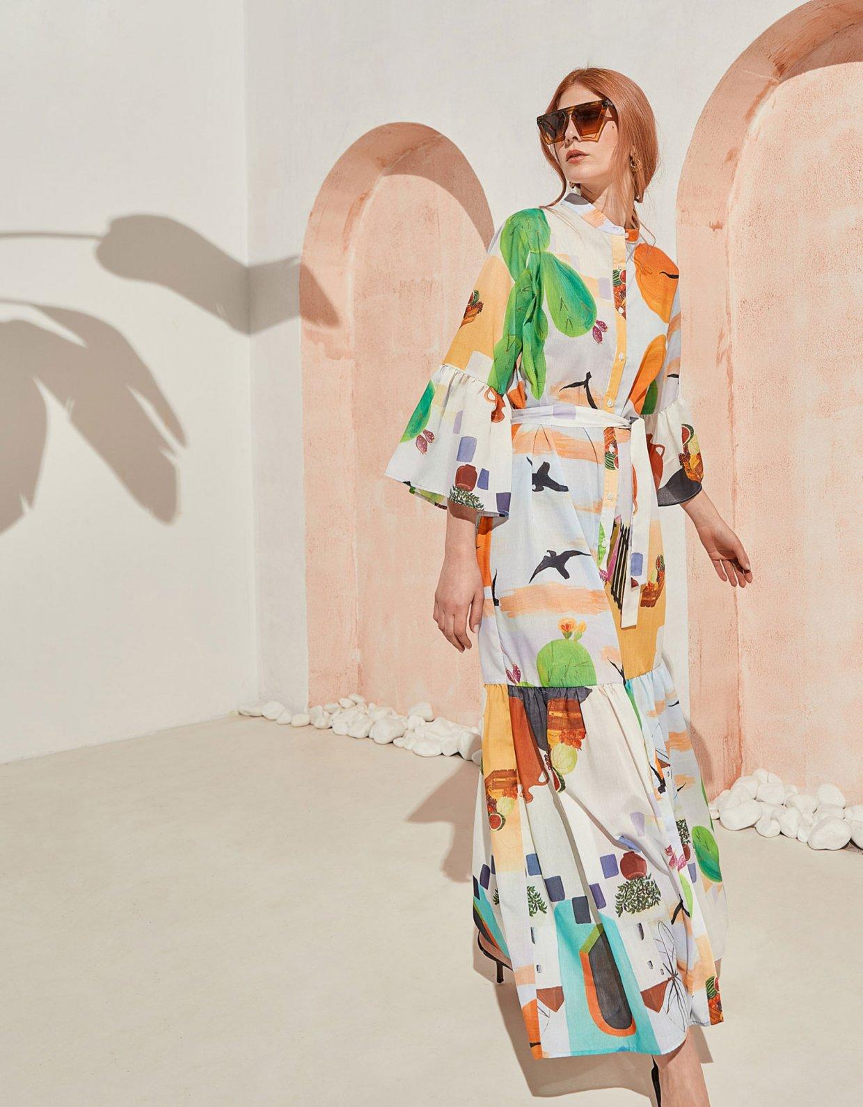 The Knl's Sway maxi dress cactus print