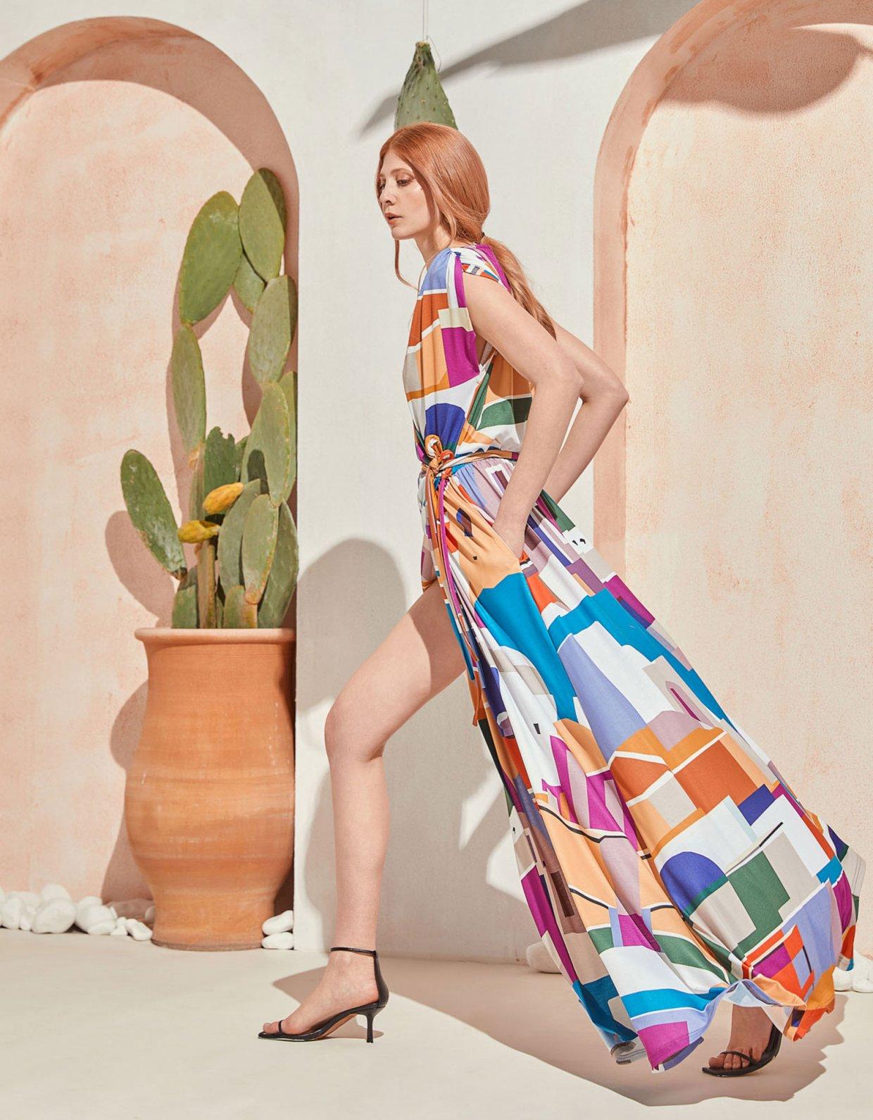 The Knl's Cruise wrap dress isla print