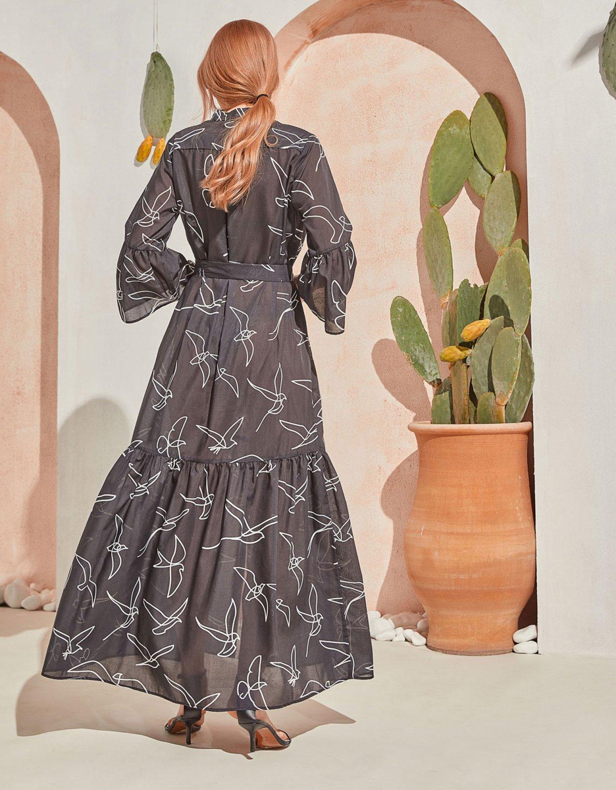 The Knl's Sway maxi dress black birds