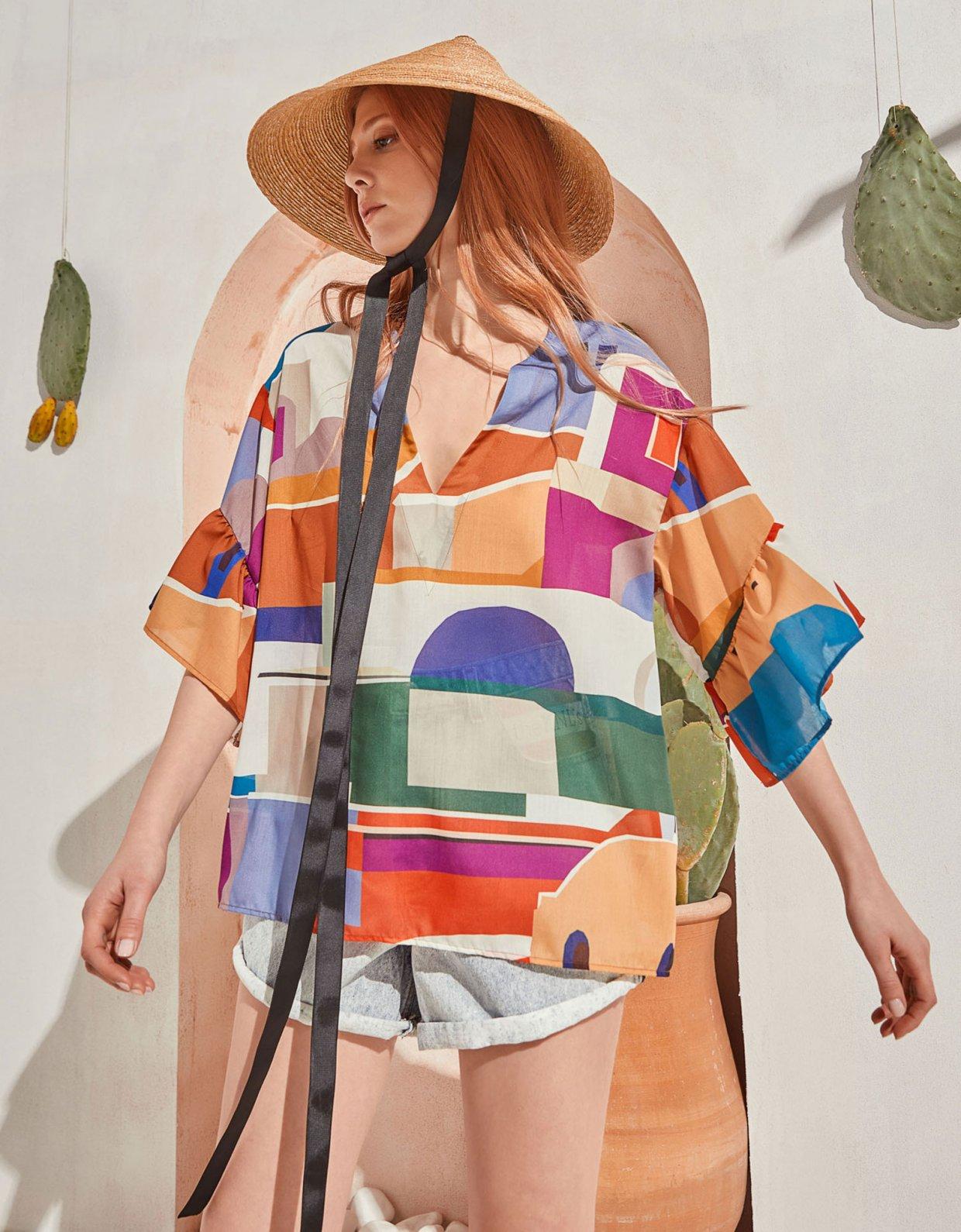 The Knl's Leisure tunic blouse isla print