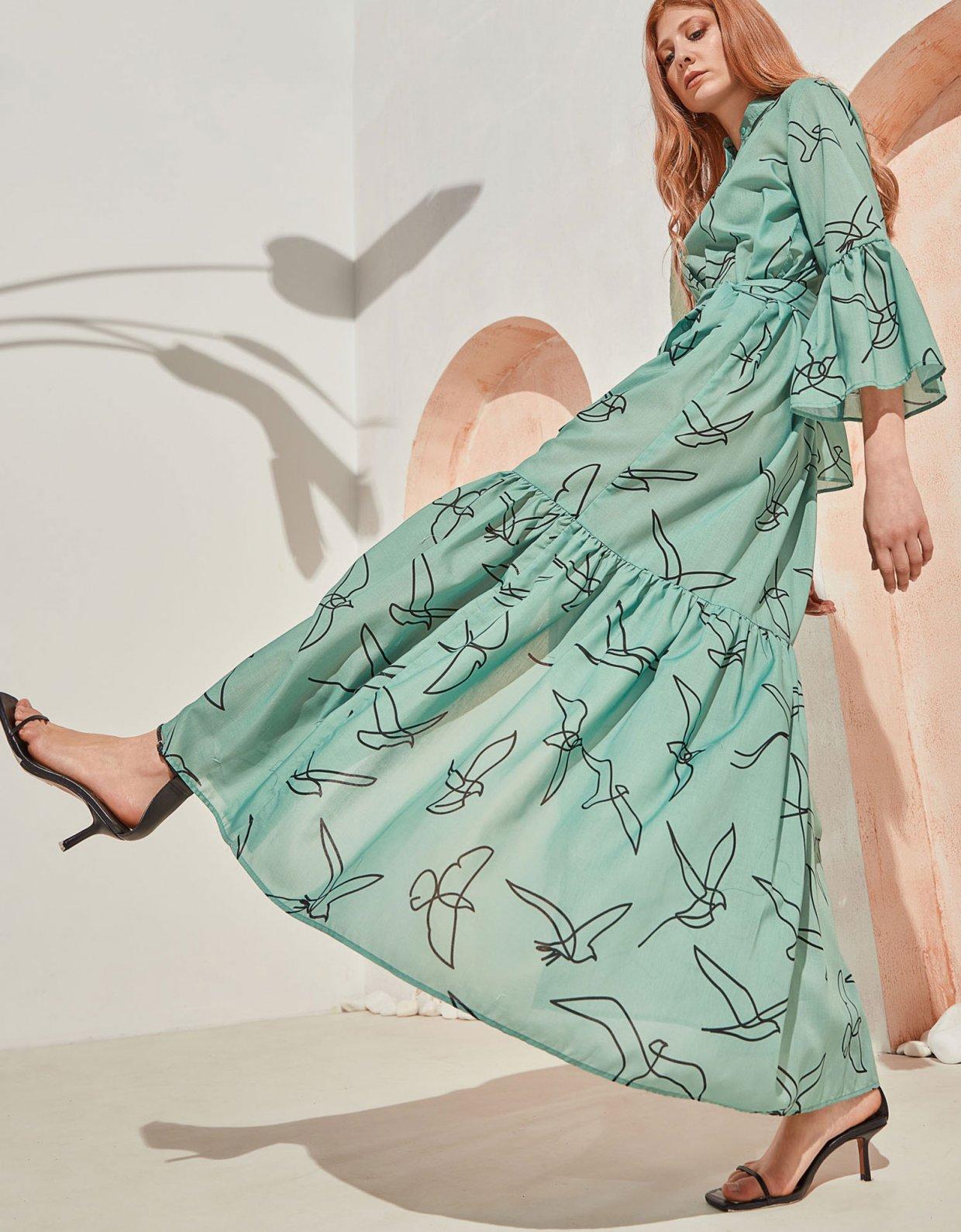The Knl's Sway maxi dress mint birds