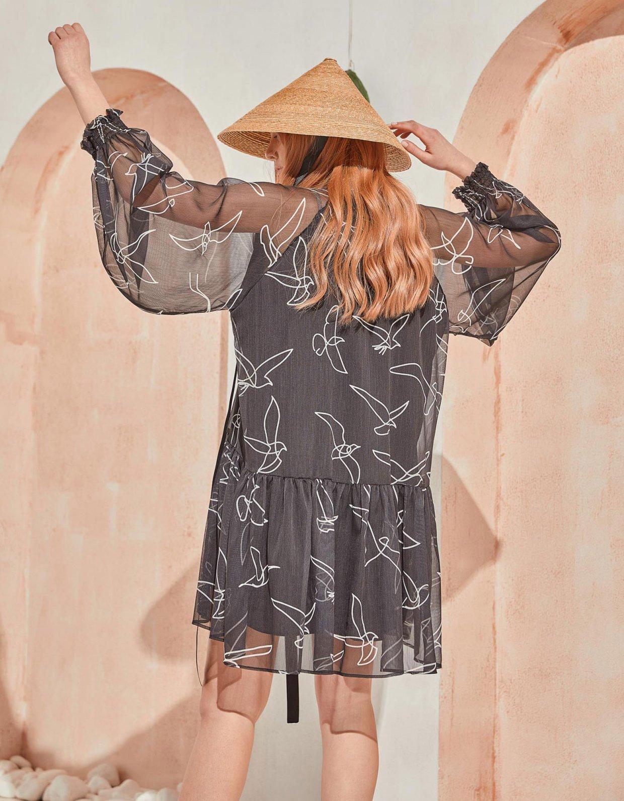 The Knl's Journey silk dress black birds