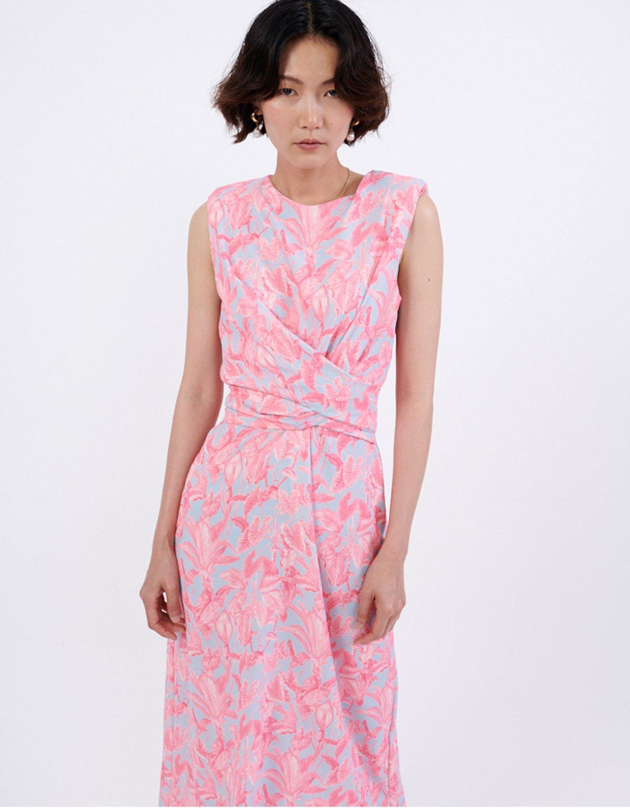 Milk White Tropical pink dress