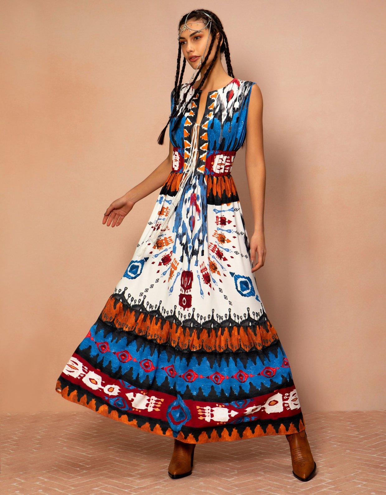 Peace & Chaos Painted Navajo long dress