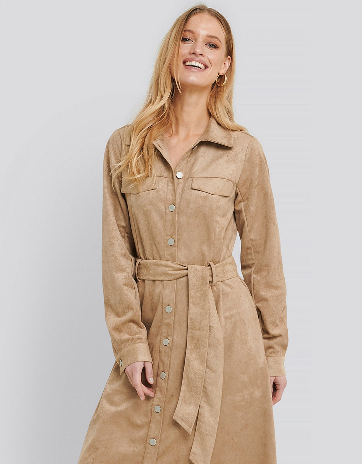 NA-KD Utility faux suede shirt dress beige