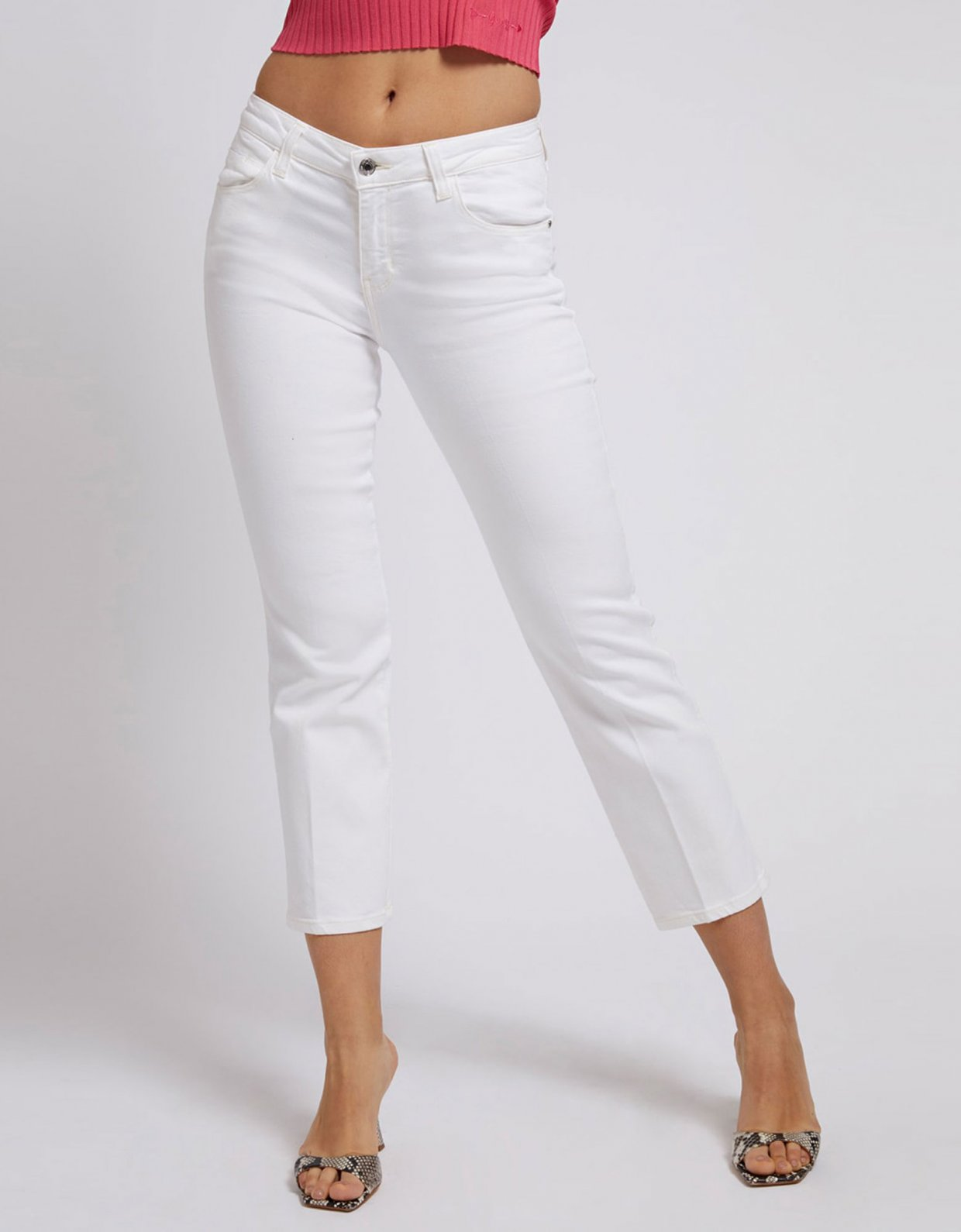 Guess Sexy straight ankle pants white