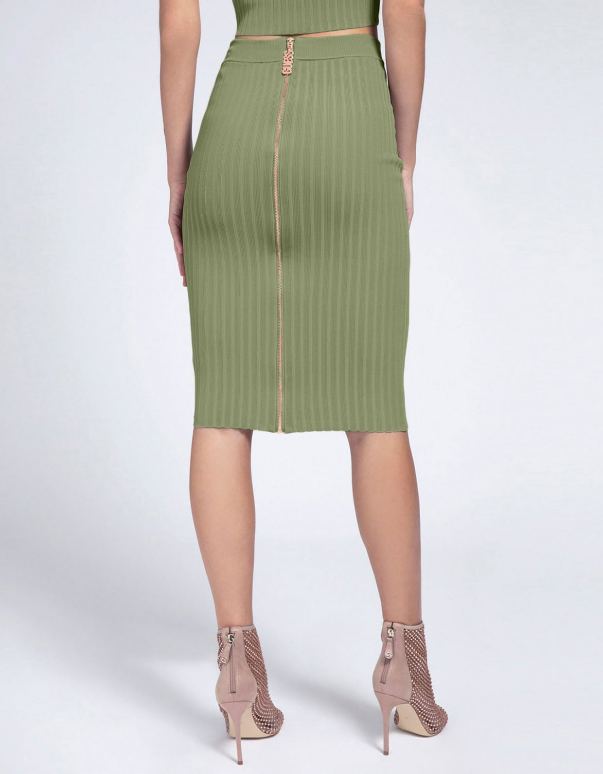 Guess Ada rib skirt green