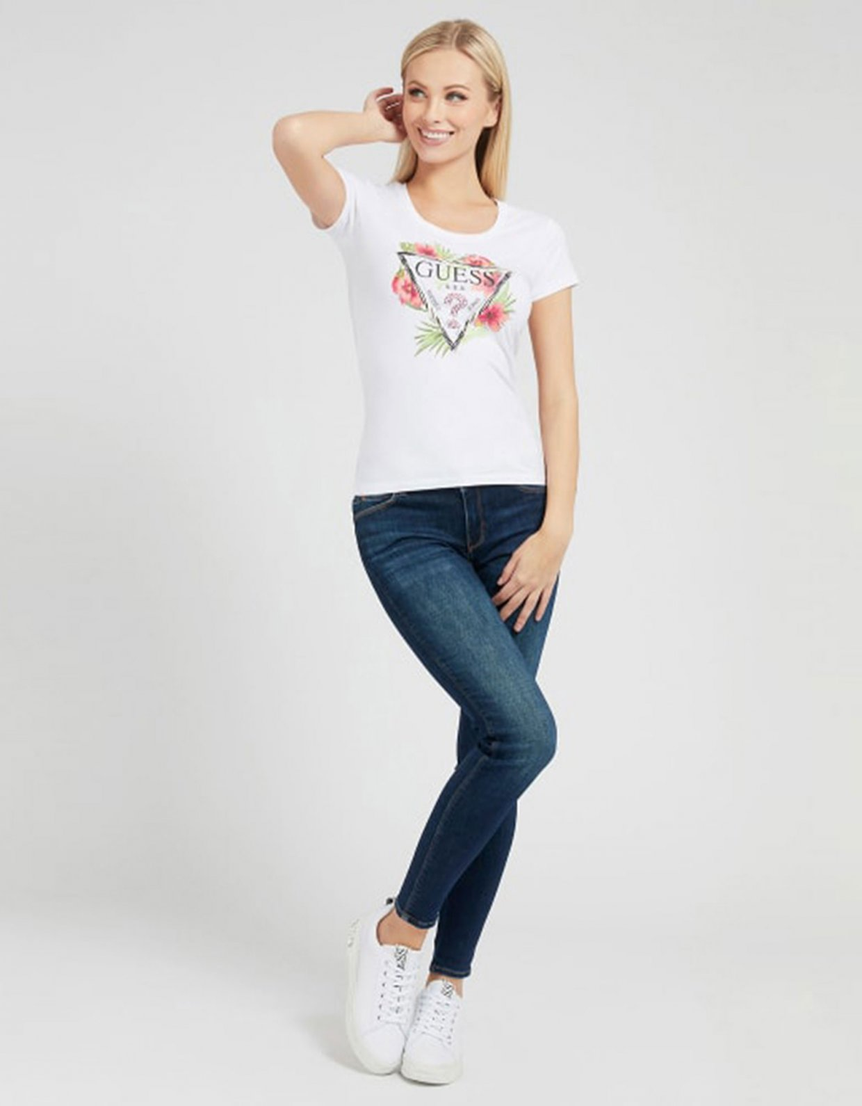 GUESS Rebecca triangle logo t-shirt