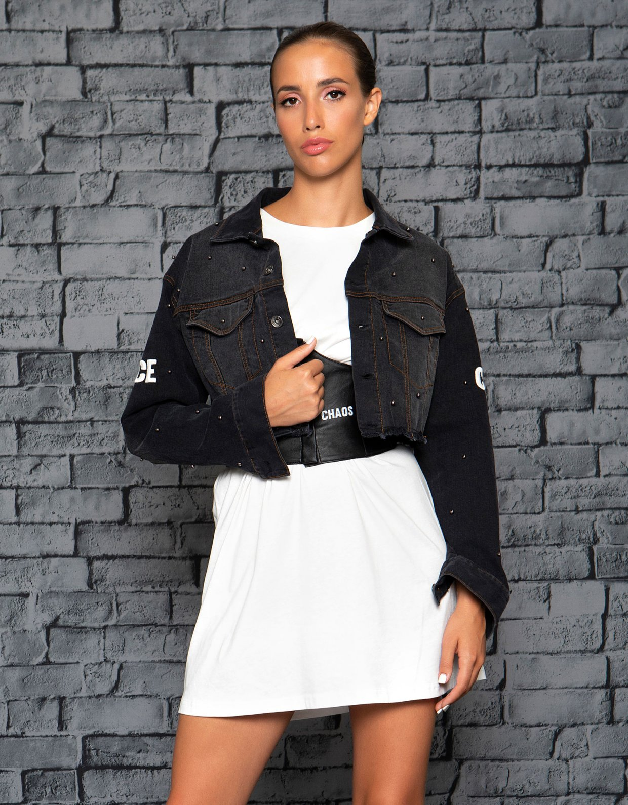 Peace & Chaos Studded denim cropped jacket