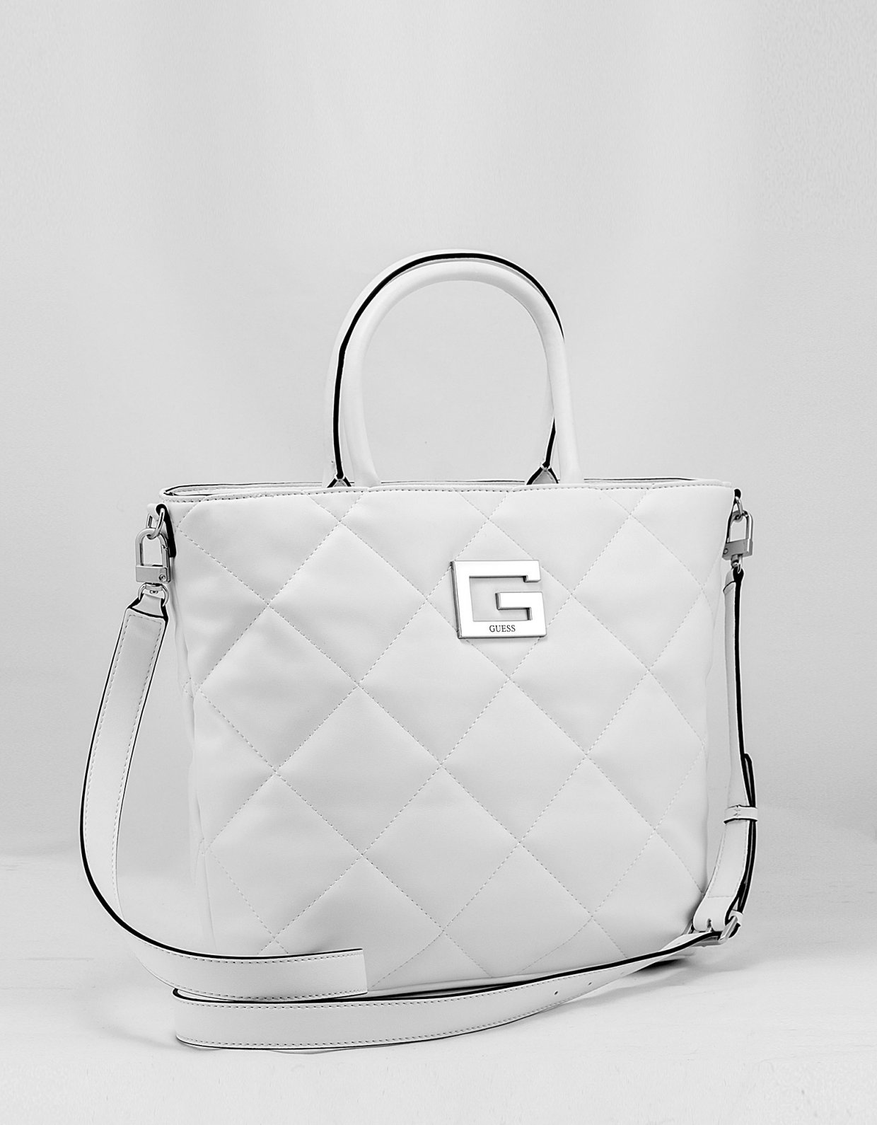 GUESS Brightside quilted tote bag white