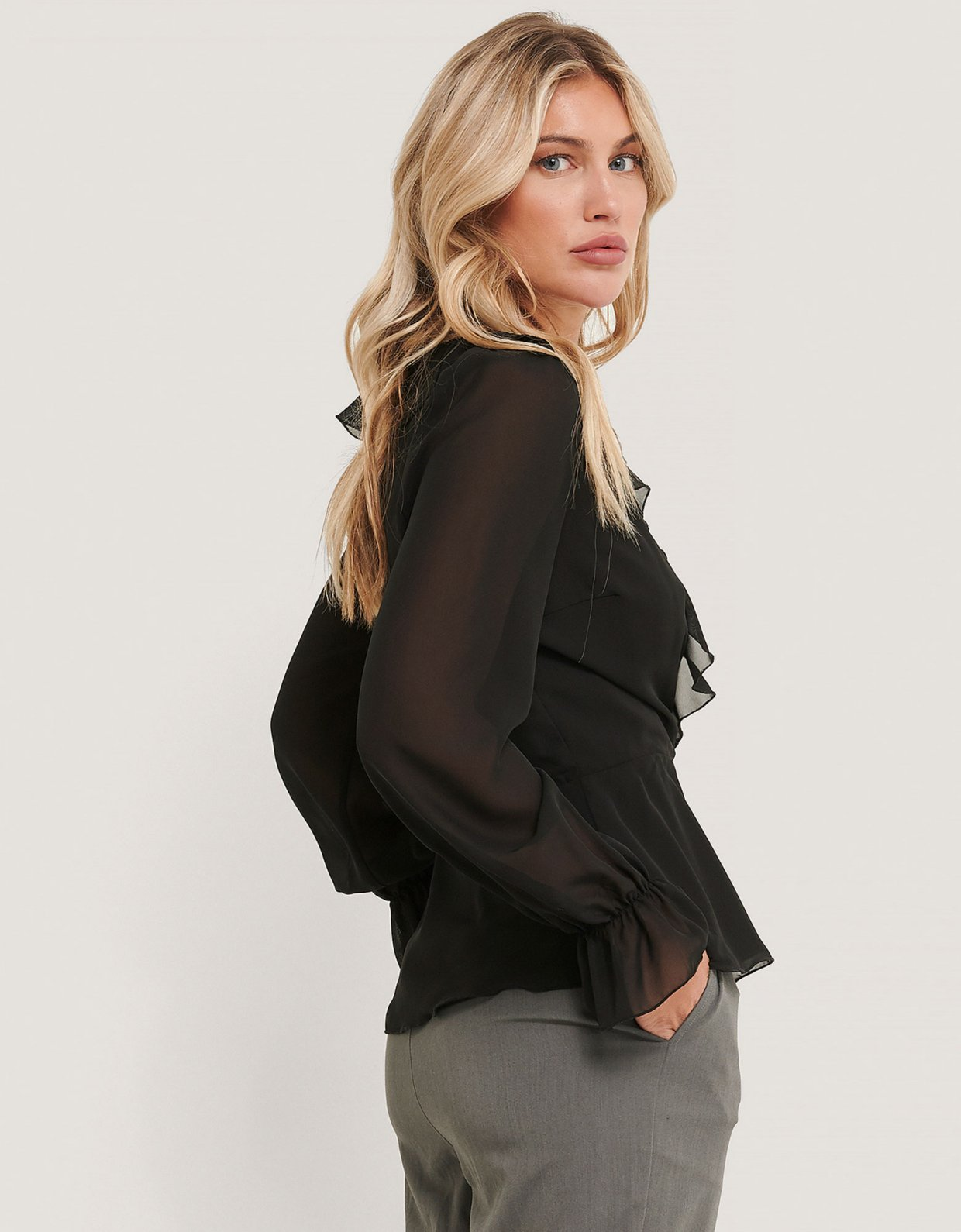 NA-KD Black wrapped ruffle blouse