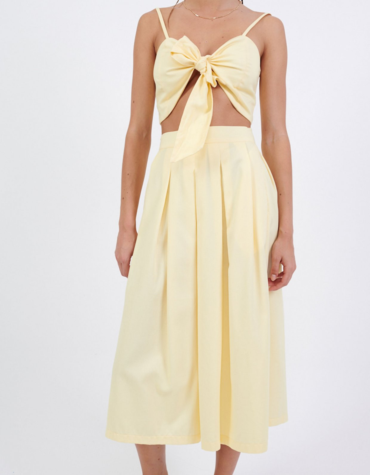 Milk White Yellow midi skirt
