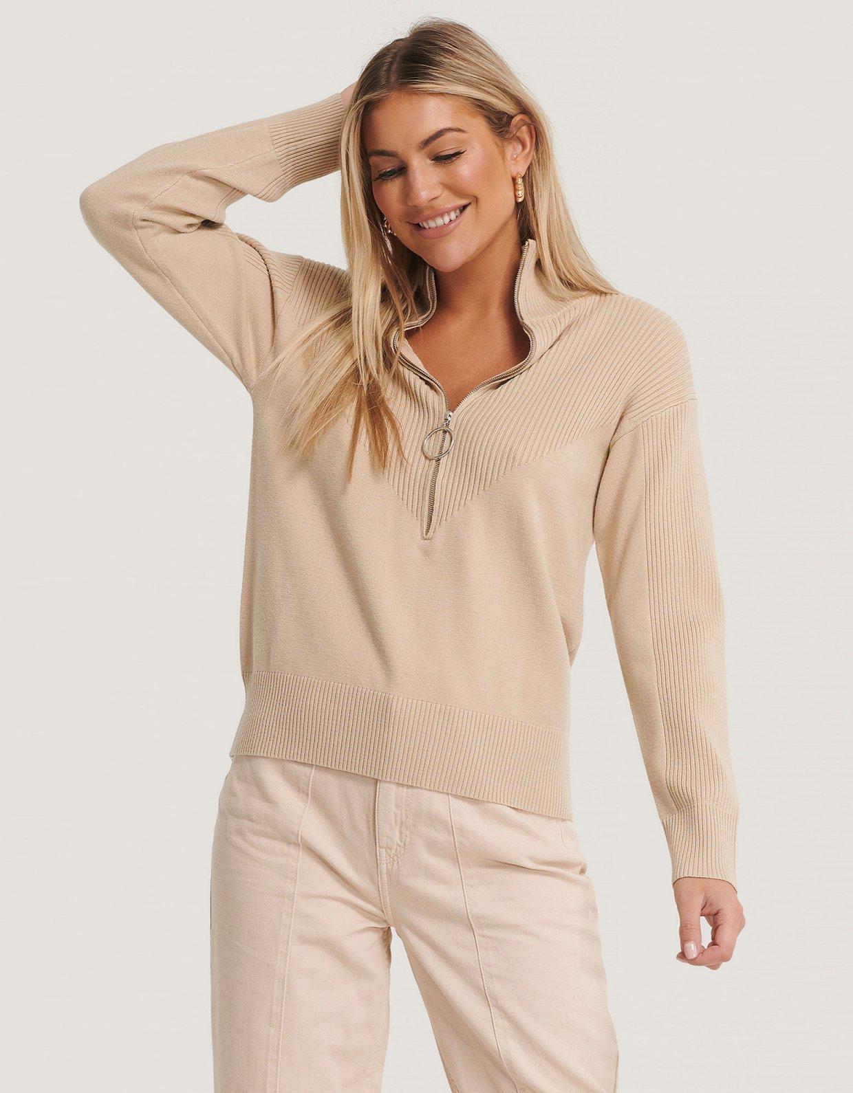 NA-KD Zip knit polo sweater beige