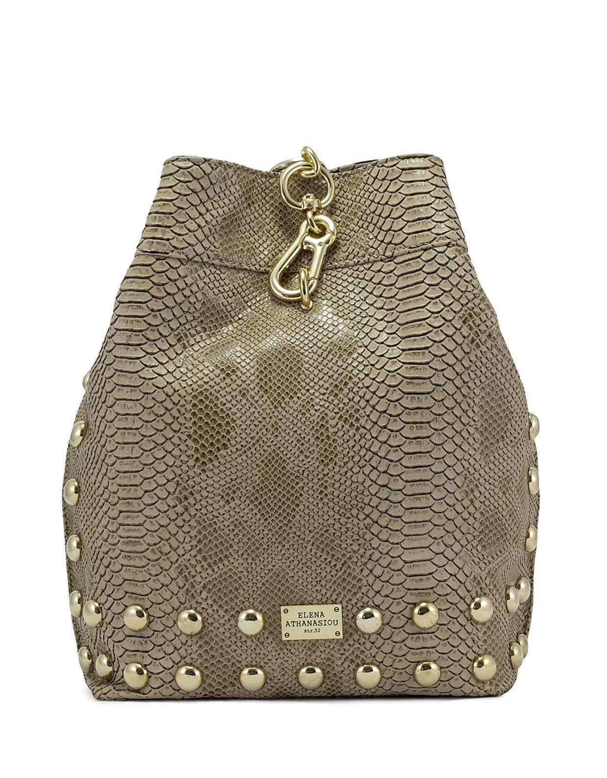 Elena Athanasiou Backpack croco pattern beige