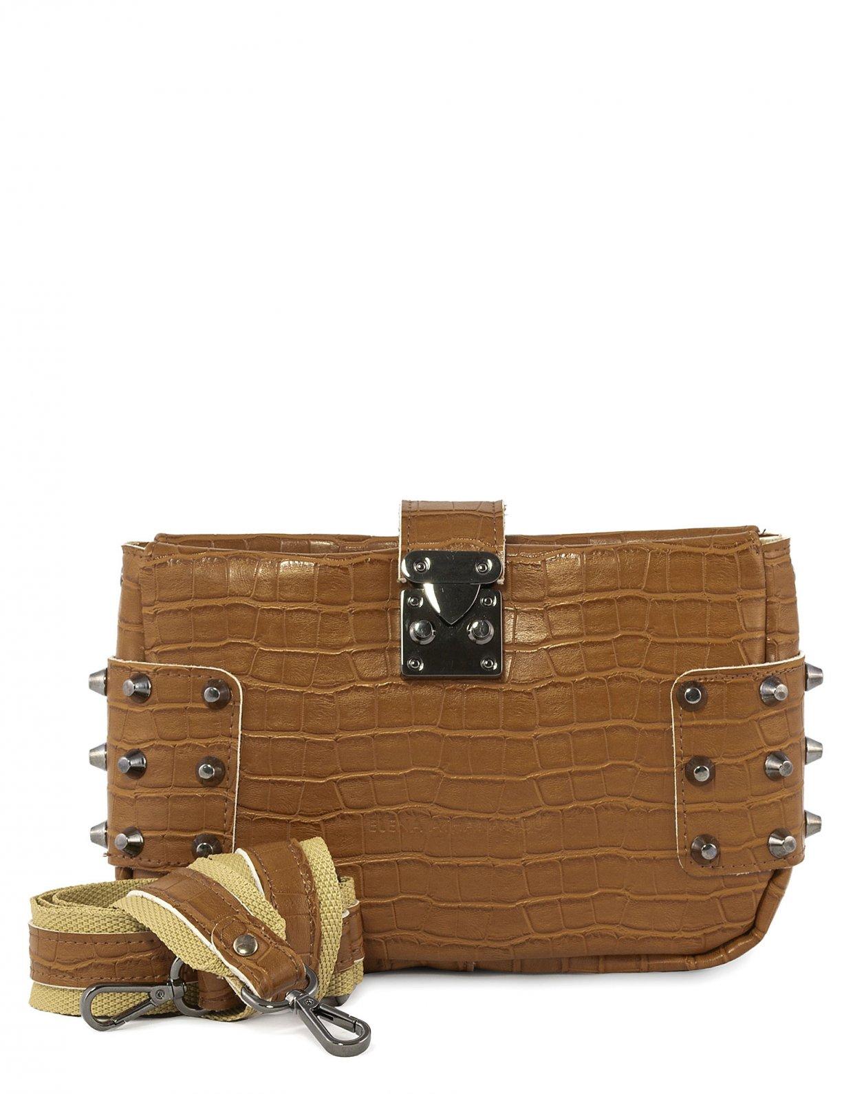Elena Athanasiou City lady croco clutch bag cognac