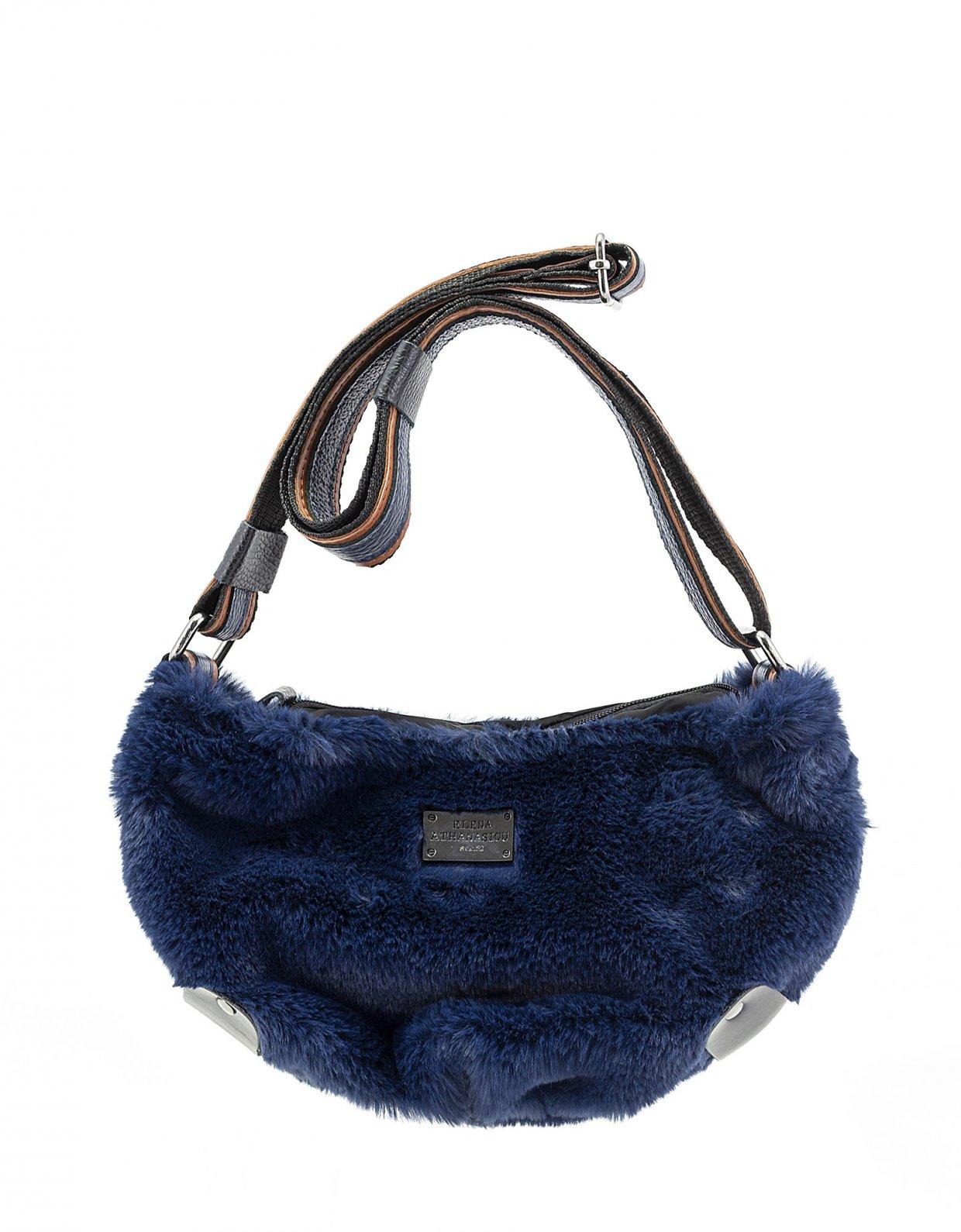 Elena Athanasiou Fluffy body bag small midnight blue