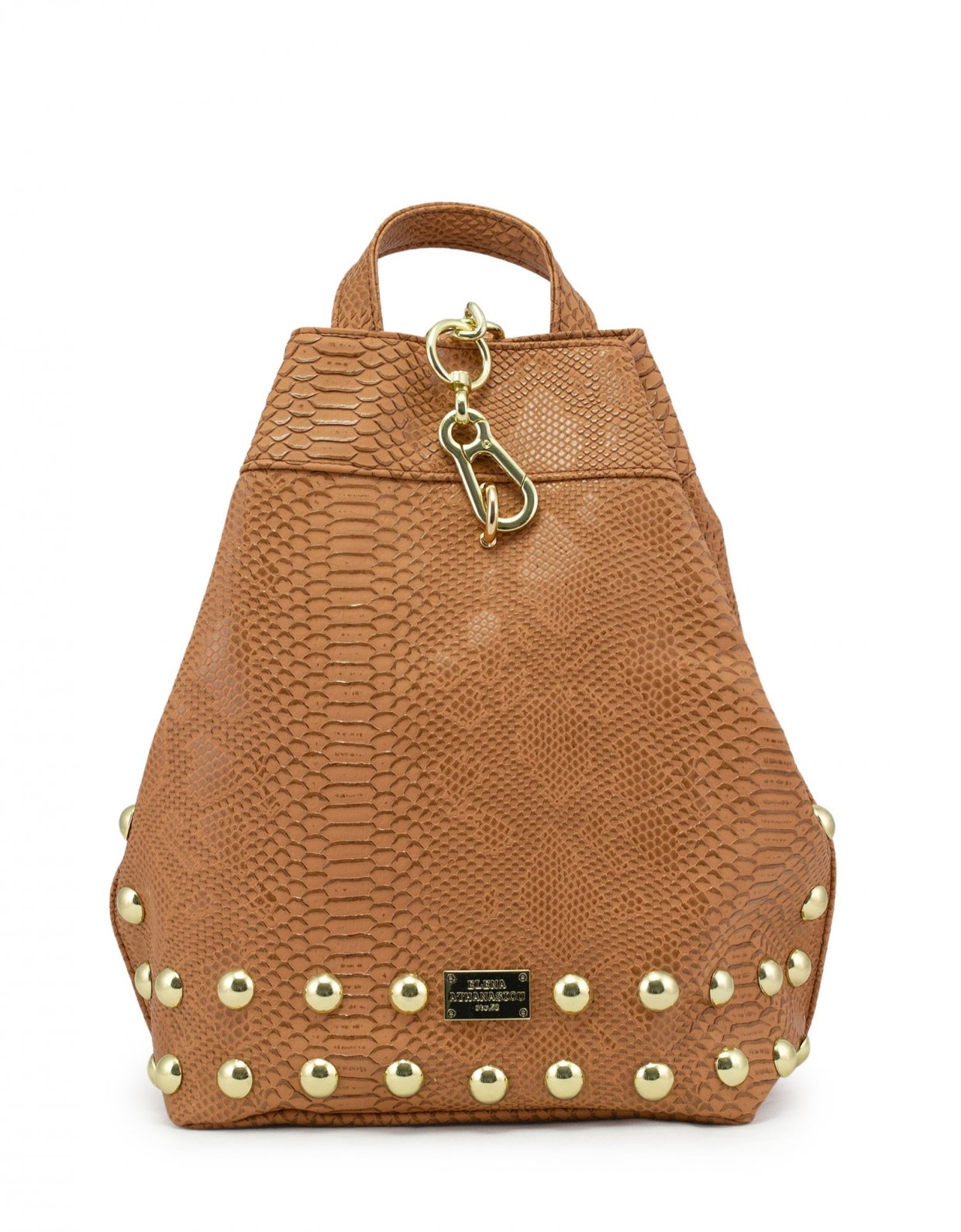 Elena Athanasiou Backpack cognac snake gold