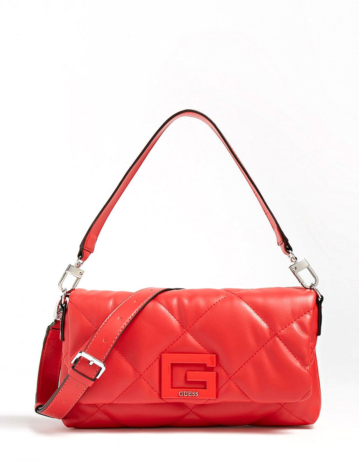 GUESS Brightside quilted shoulder bag red