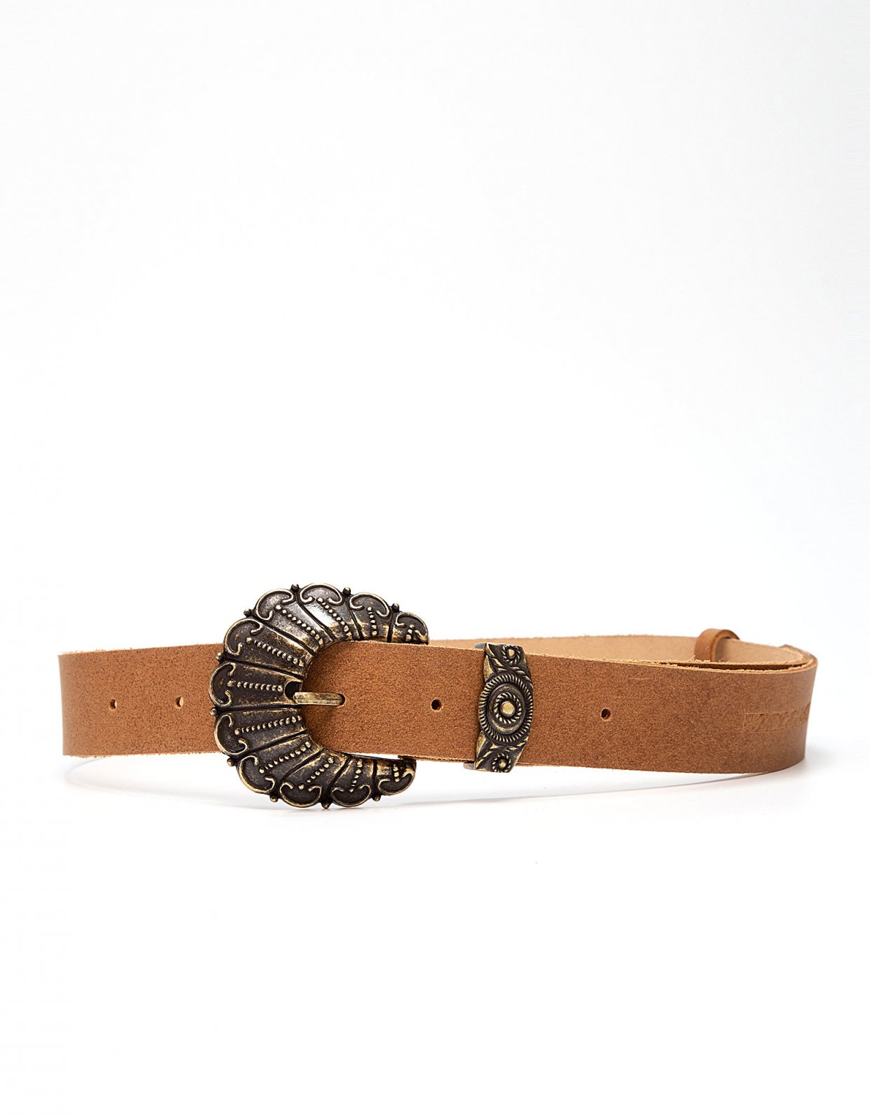 Peace & Chaos Petals leather belt tanned