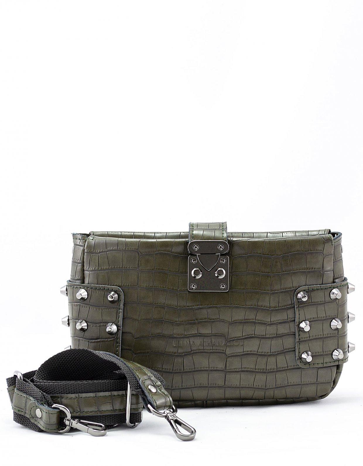 Elena Athanasiou City lady croco clutch bag dark grey