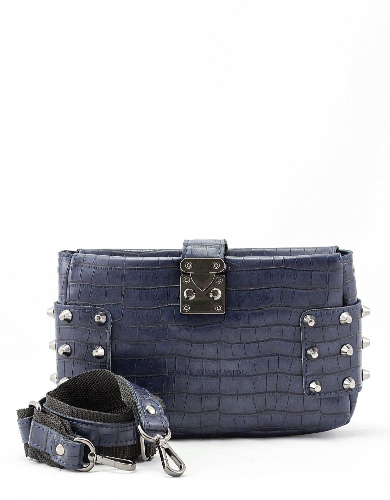 Elena Athanasiou City lady croco clutch bag blue