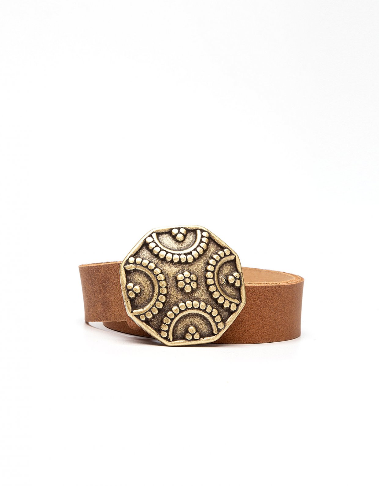 Peace & Chaos Shield leather belt tanned