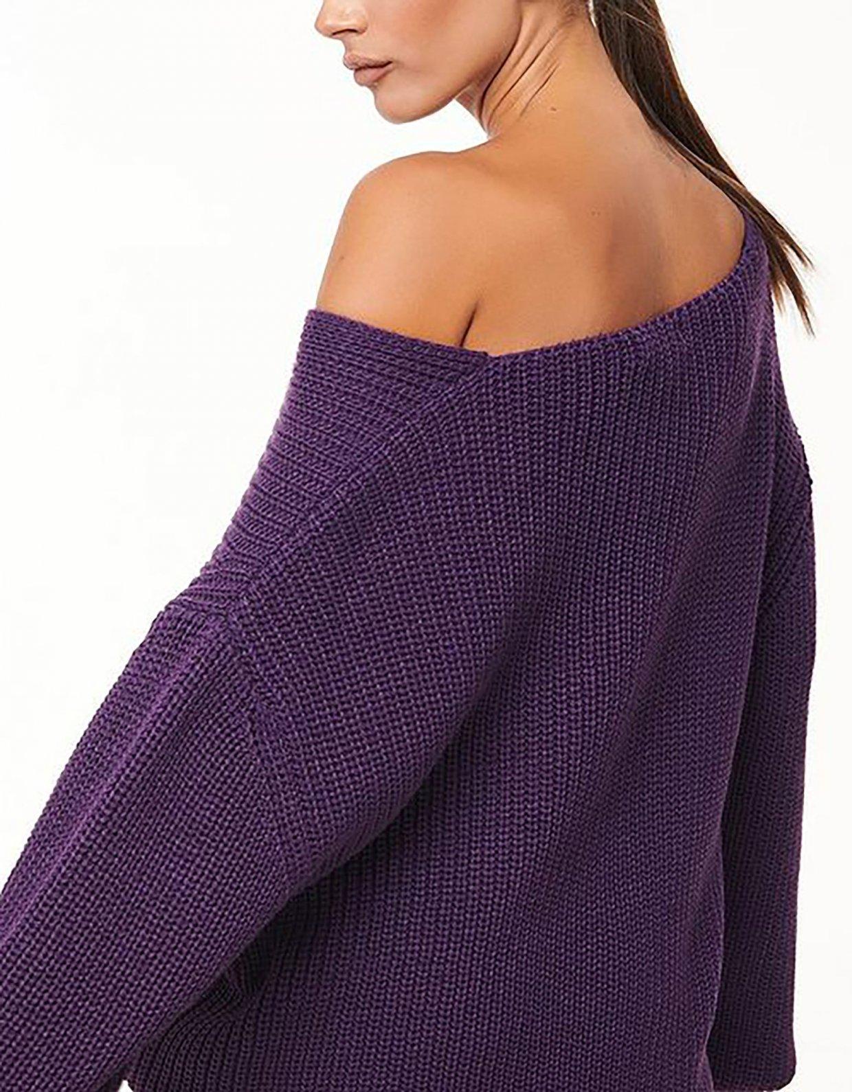 Combos Knitwear Combos W53Α – Purple loose top