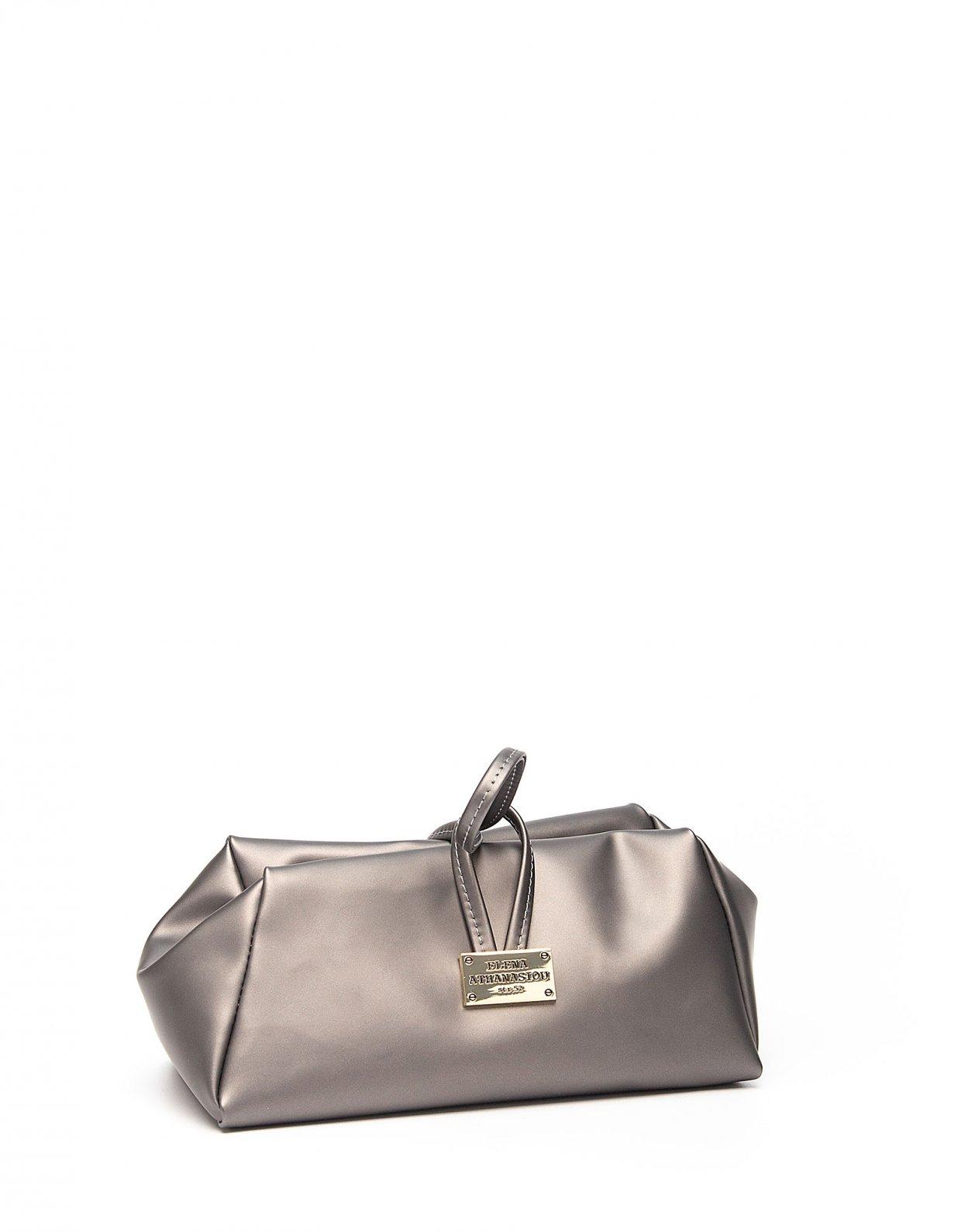 Elena Athanasiou Metallic grey large lunch bag