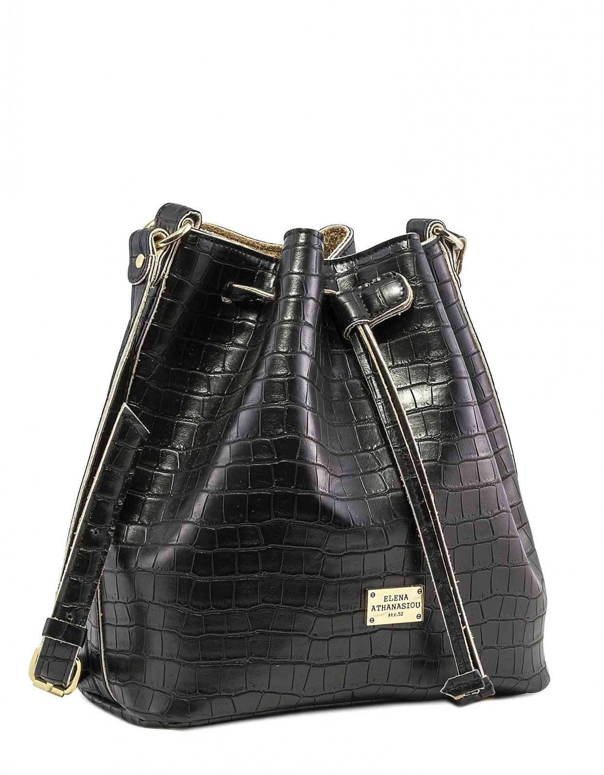 Elena Athanasiou Croco pouch bag black