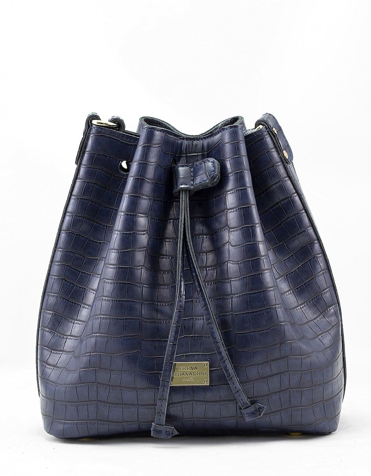 Elena Athanasiou Croco pouch bag blue